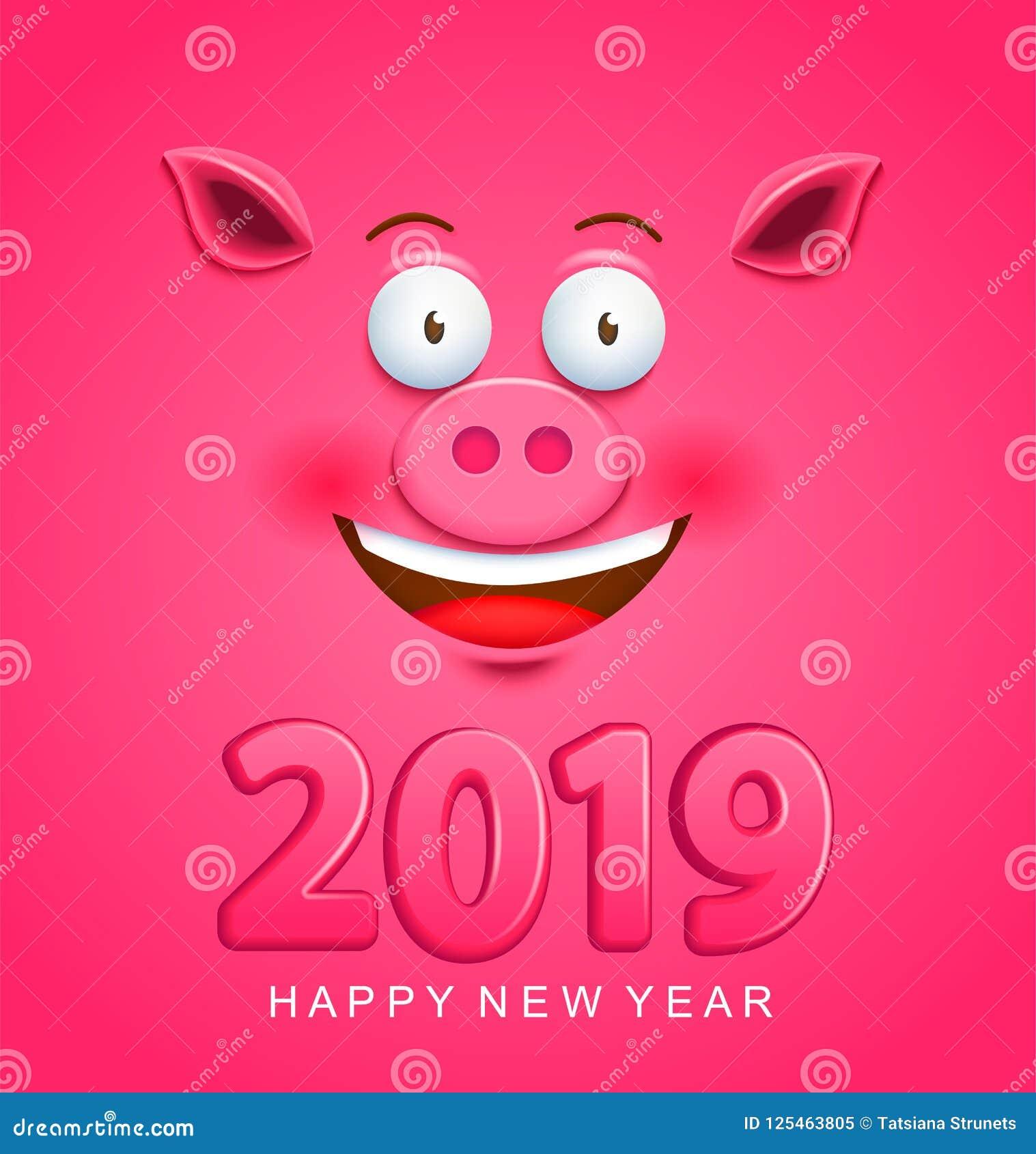 Leuke groetkaart voor het nieuwe jaar van 2019 met varkensgezicht