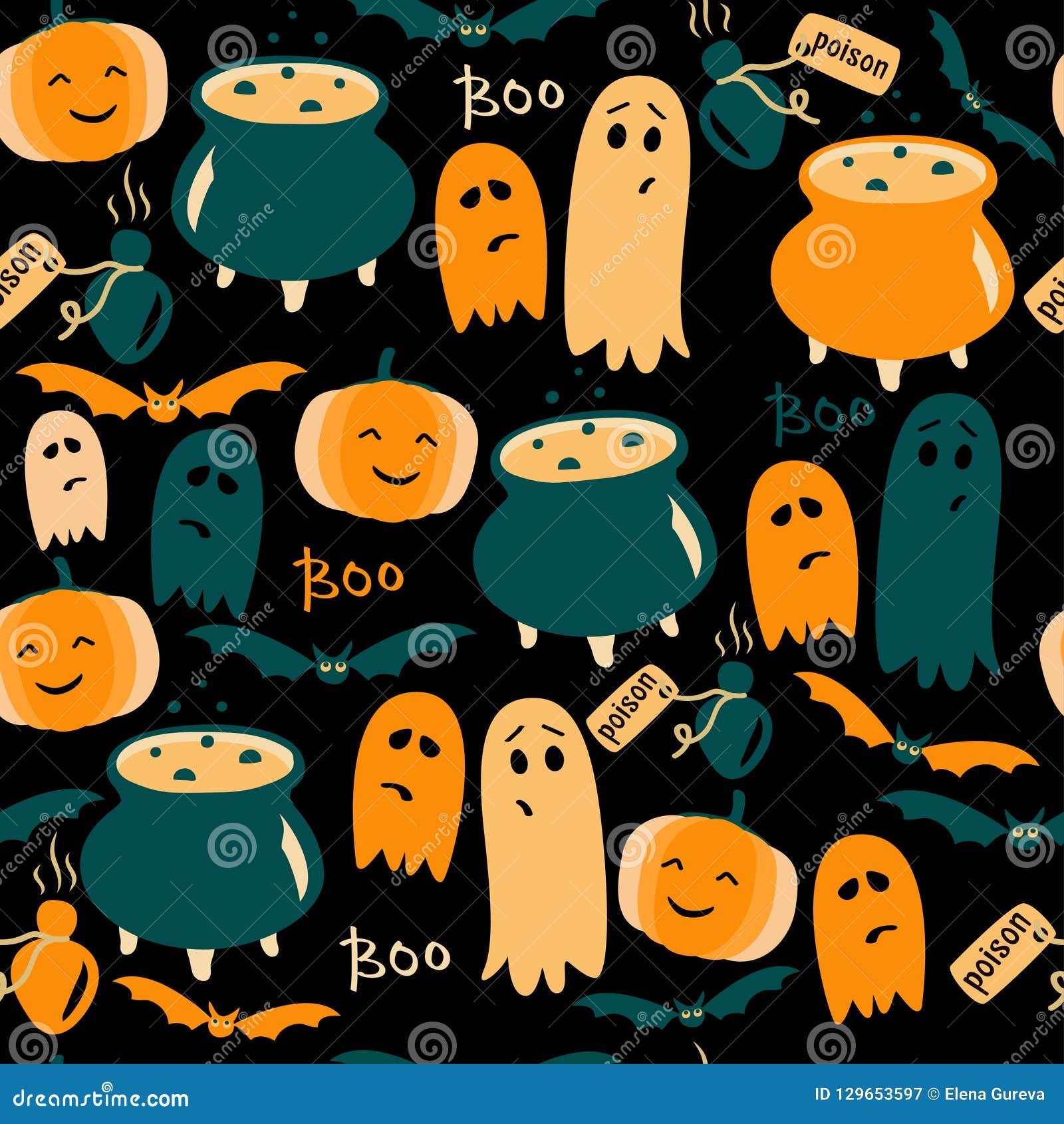 Leuke Halloween-achtergrond met spoken, pompoenen en vergift Vector illustratie