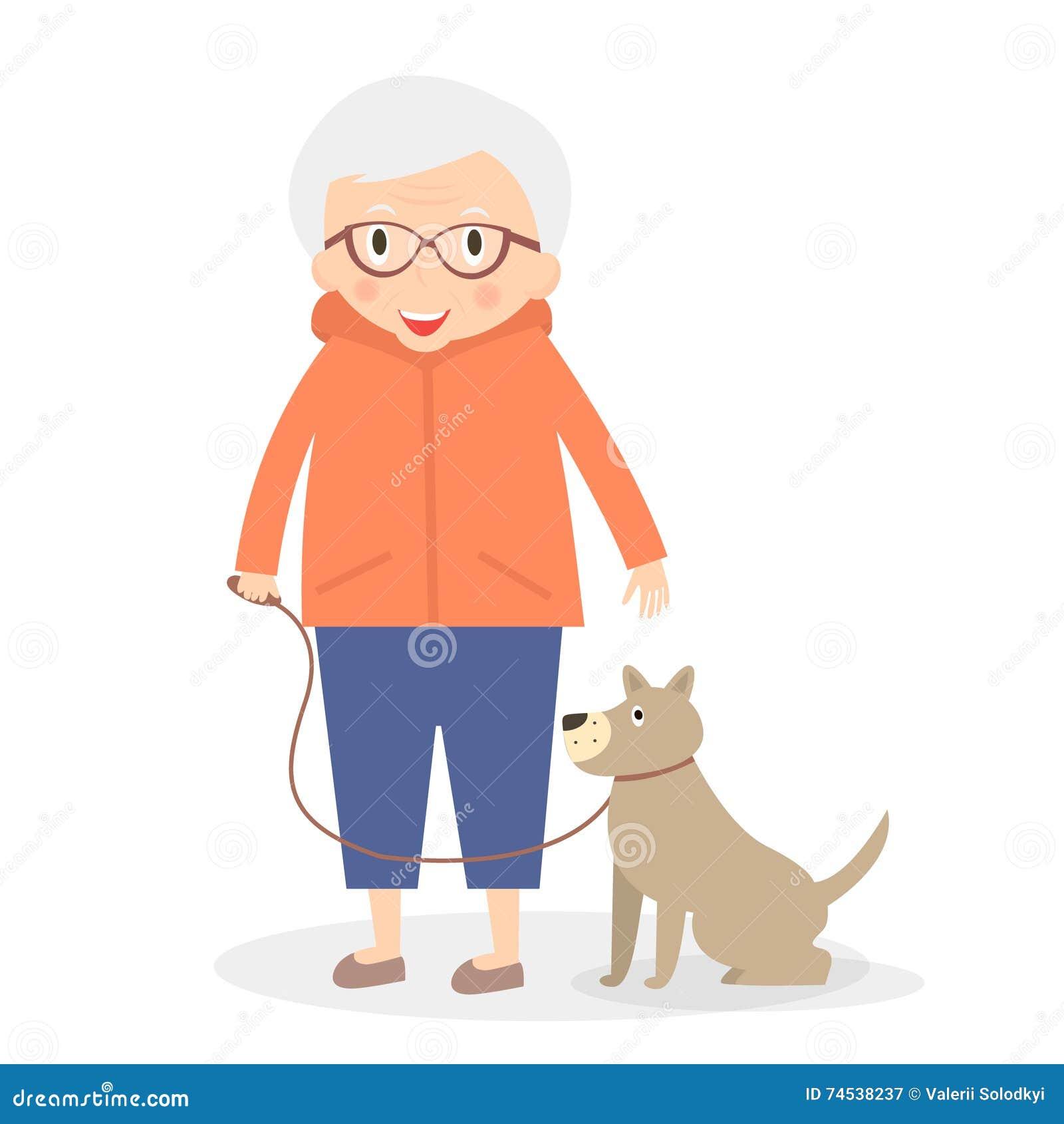 Leuke hogere vrouw met hond op de gang Grootmoeder in sportkleren Vector illustratie