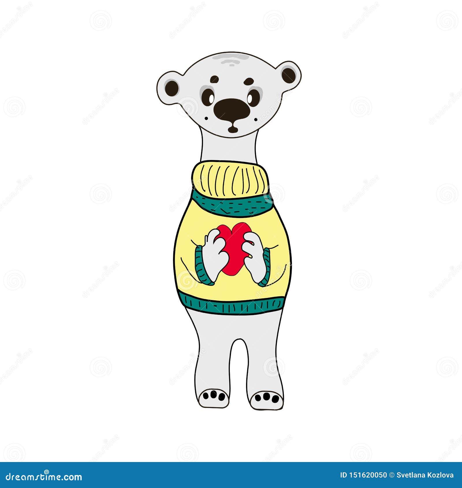 Leuke Ijsbeer vectordruk teddy met de illustratie van het hartbeeldverhaal,