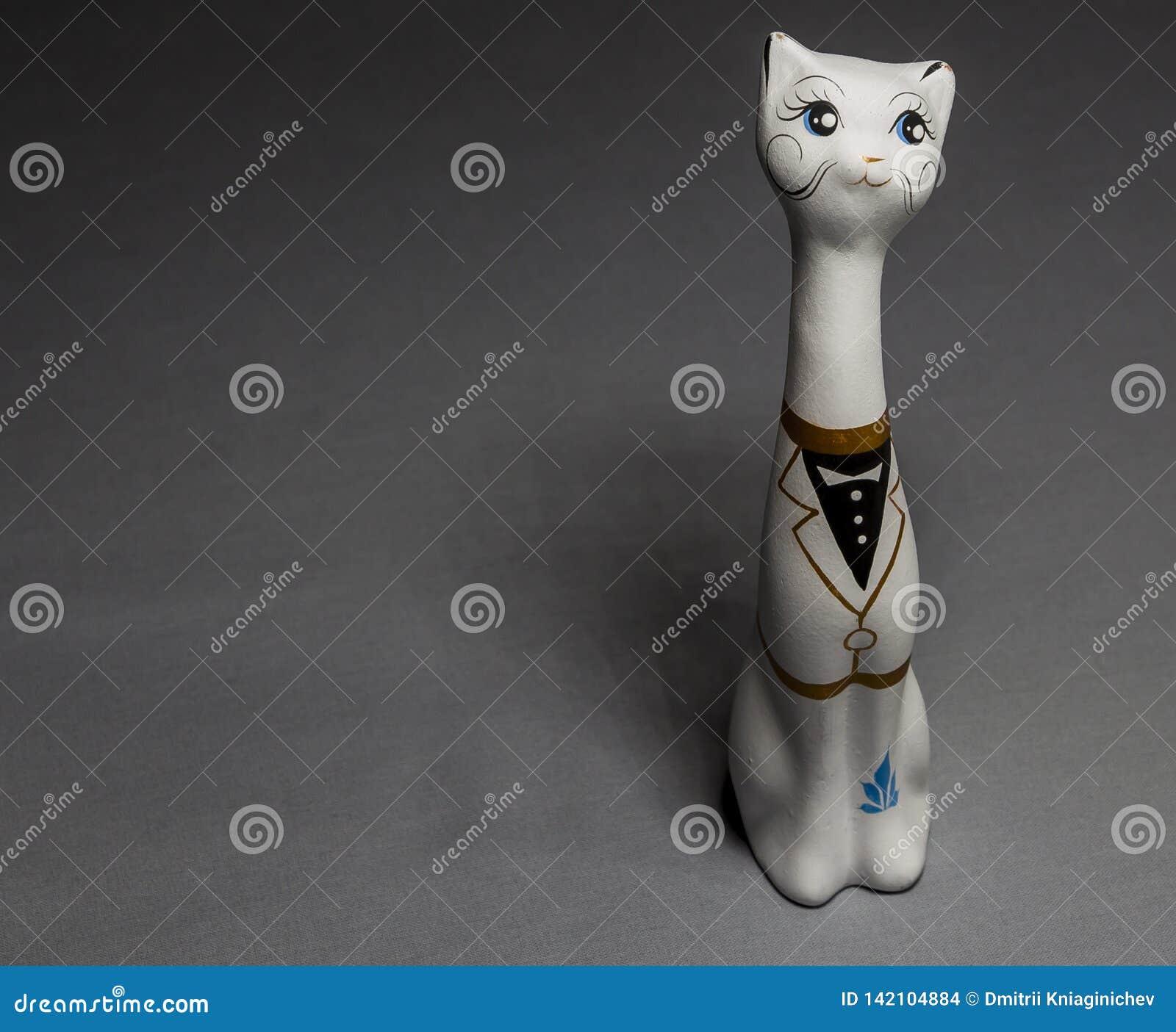 Leuke kat Het beeldje van de klei wit