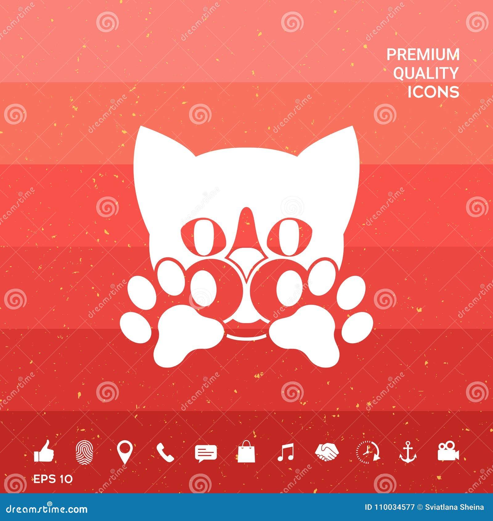 Leuke Kat, poten - het embleem, symbool, beschermt teken