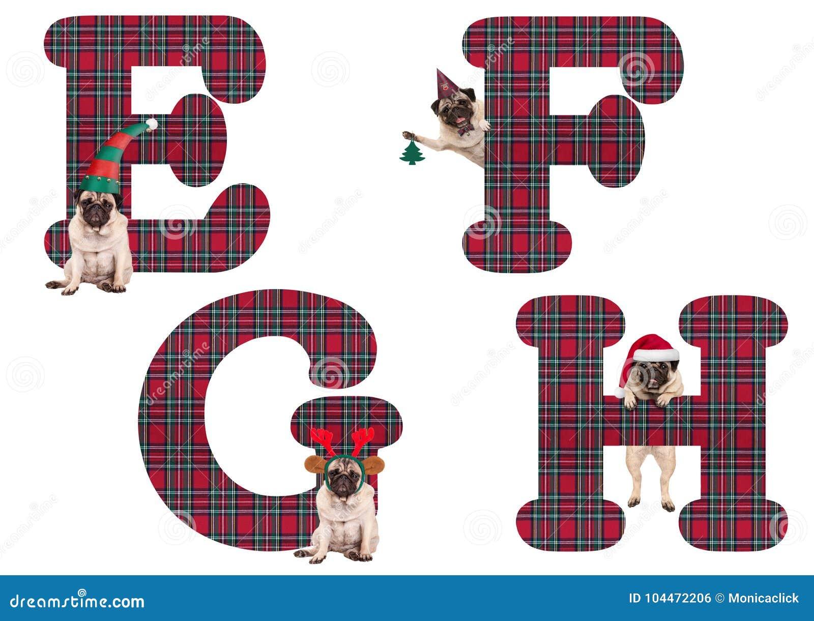 Leuke Kerstmispug het alfabetbrieven E-F G H van de puppyhond