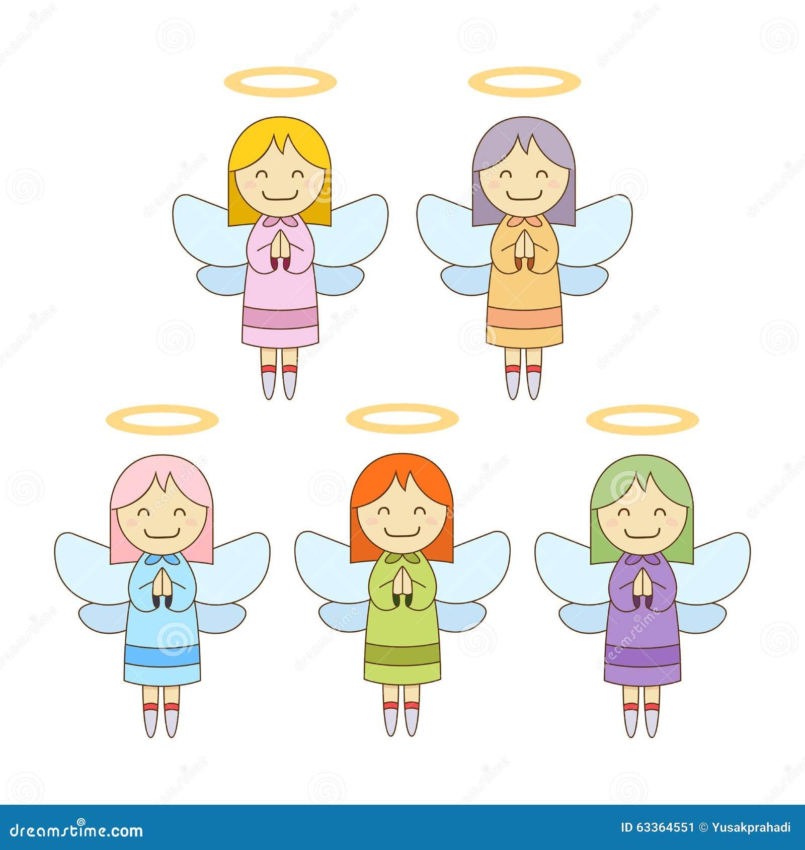 Leuke Kleine Engelen in Verschillende Kleur
