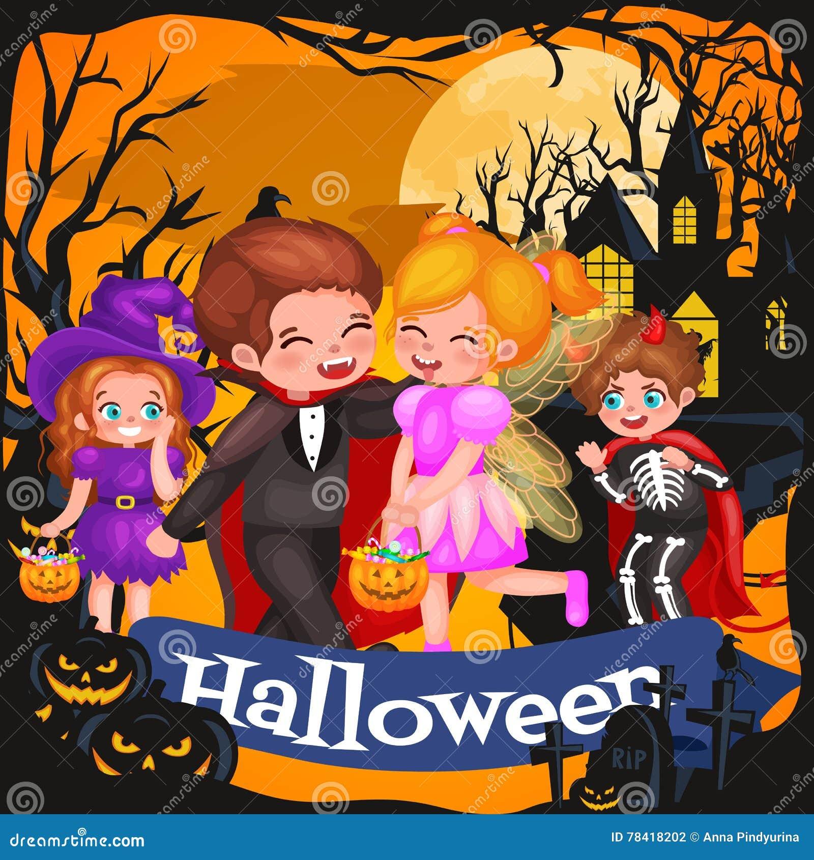 Leuke kleurrijke Halloween-jonge geitjes in kostuum voor partijreeks geïsoleerde vectorillustratie