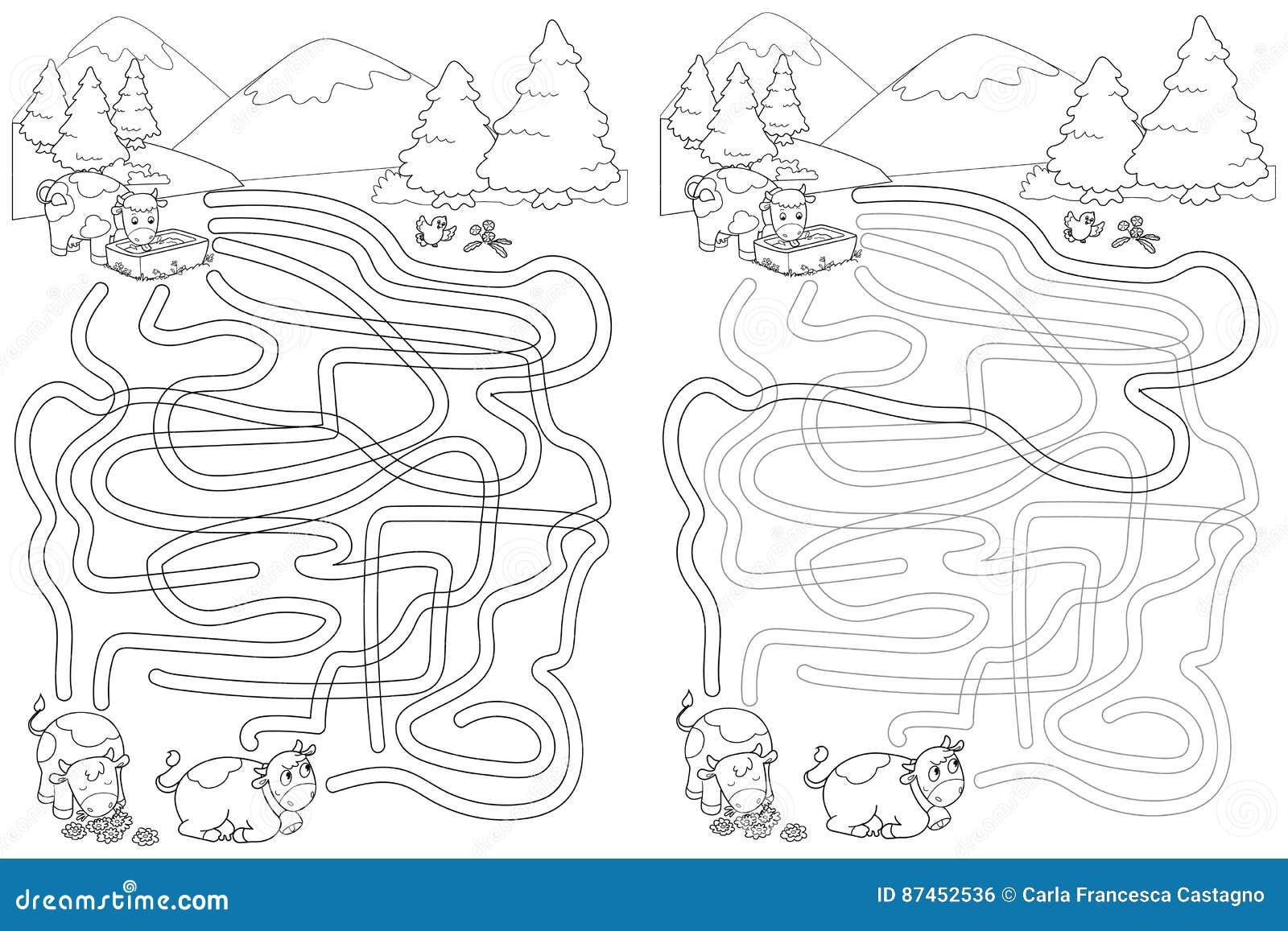 Leuke koeien bij de bergen, het spel van het labyrintlabyrint