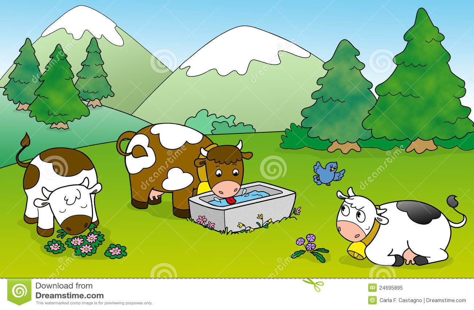 Leuke koeien, illustratie voor jonge geitjes