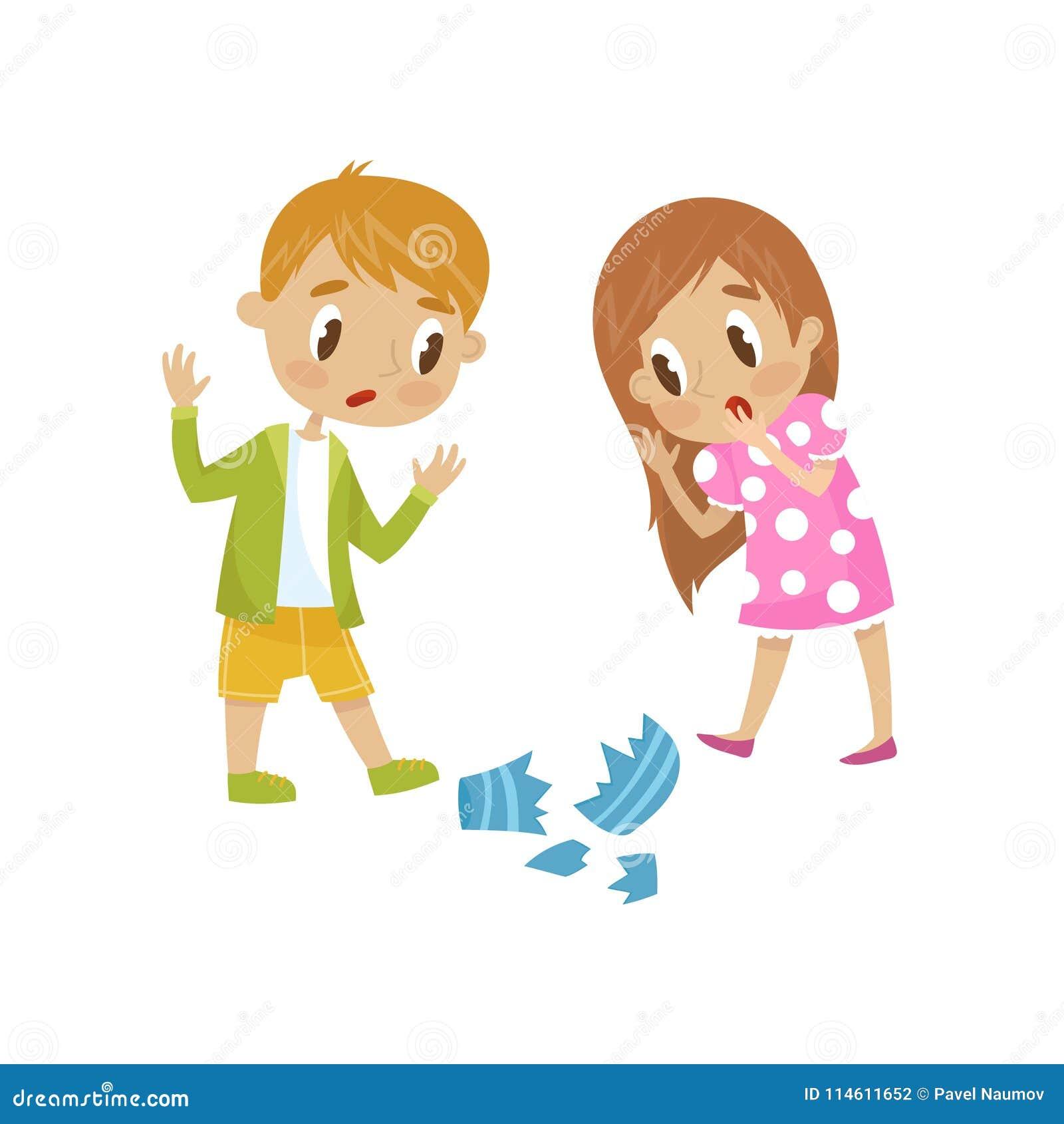 Leuke meisje en jongen gebroken een vaas, gangster vrolijk jong geitje, de slechte vectorillustratie van het kindgedrag op een wi
