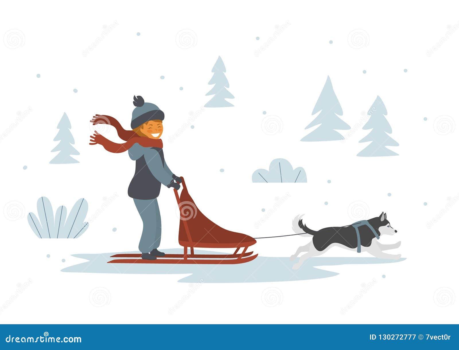 Leuke meisjeshond die geïsoleerde vectorillustratie sledding