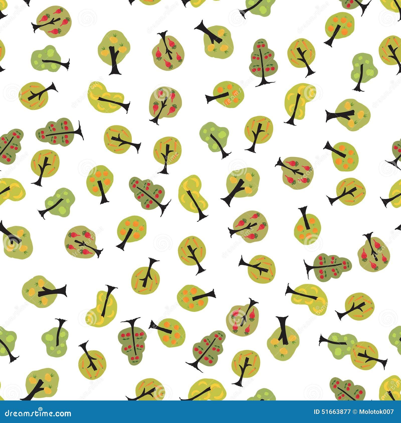 Leuke naadloze achtergrond met appel, peer, wortel, kers en bedelaars