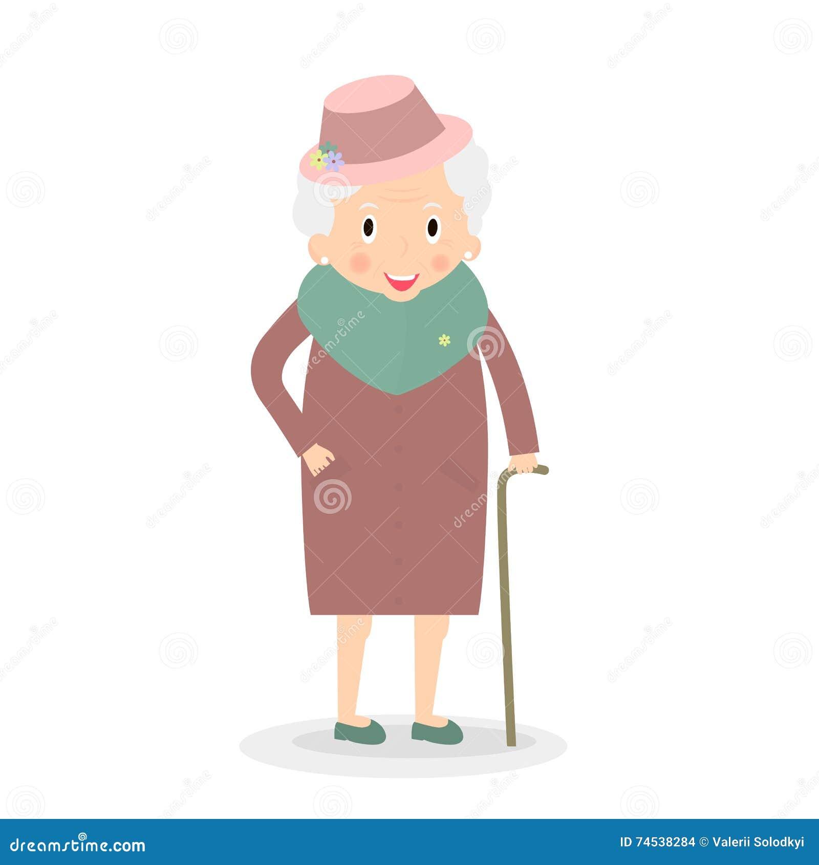 Leuke Oude vrouw met wandelstok Grootmoeder in hoed Hogere dame op gang Vector, illustratie
