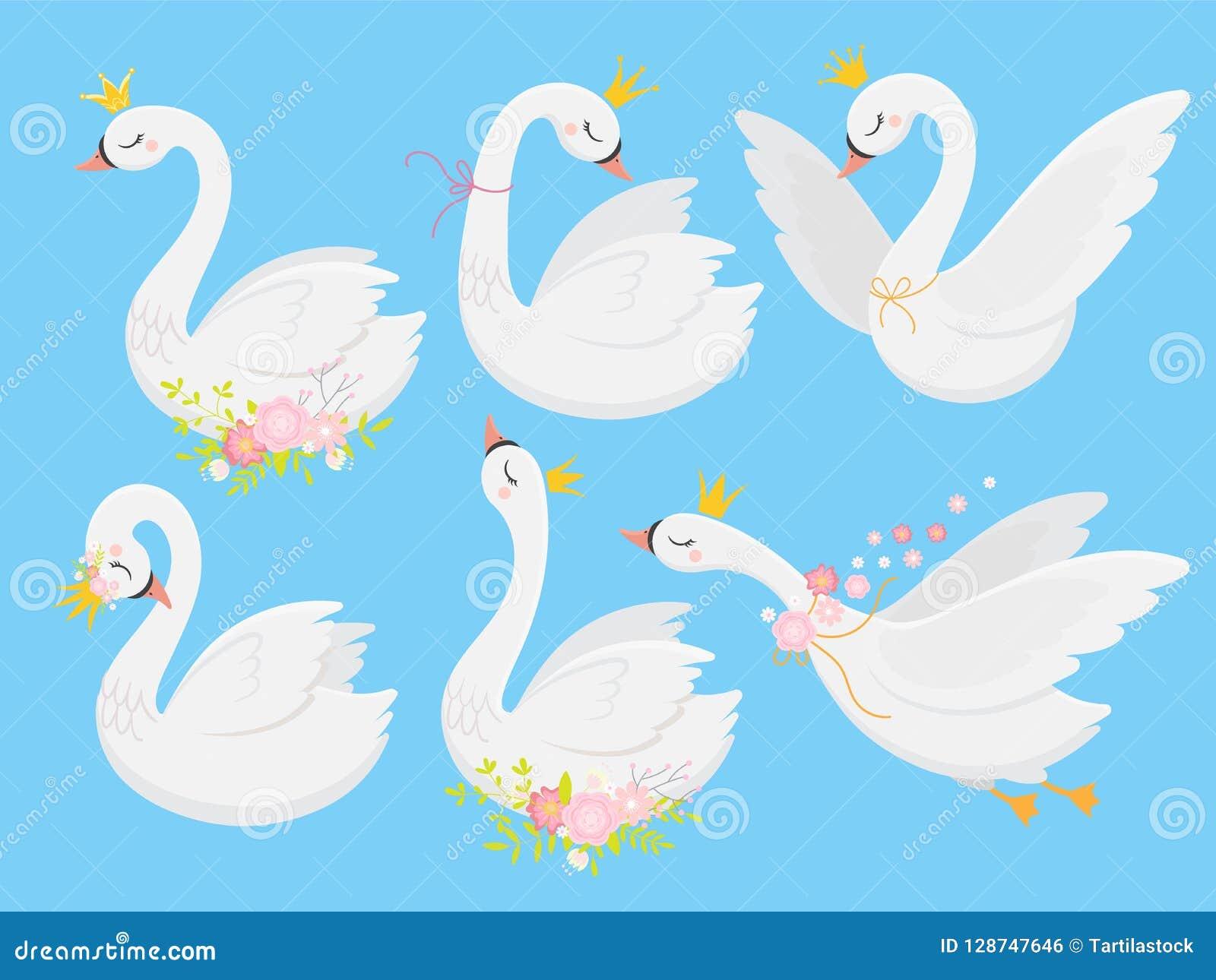 Leuke prinseszwaan Mooie witte zwanen in gouden kroon, de vogel van de beeldverhaalgans en reeks van de eendje de vectorillustrat