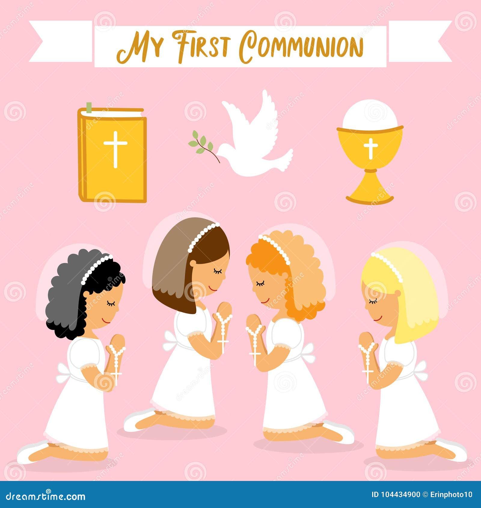 Leuke reeks ontwerpelementen voor Eerste Heilige Communie voor meisjes