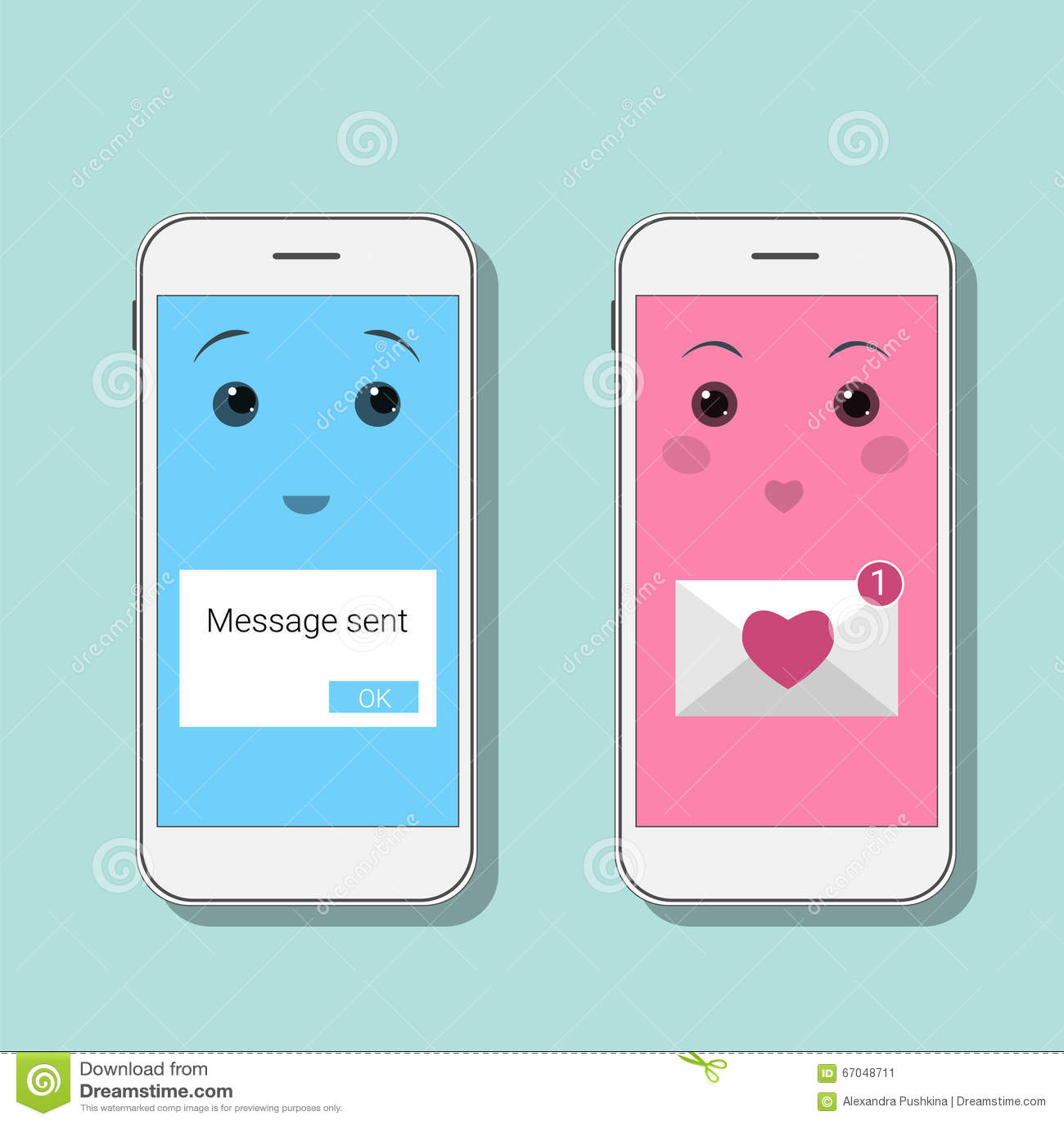 Leuke Smartphones Met Smsberichten Kawaii Mobiles In Blauwe