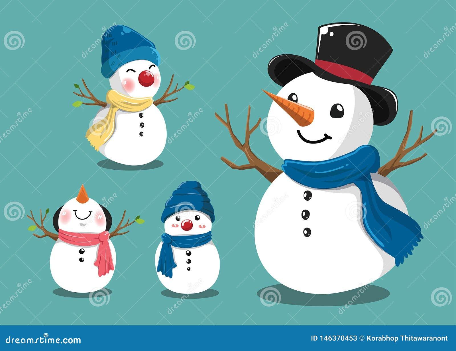 Leuke sneeuwman die voor Kerstmis wordt geplaatst