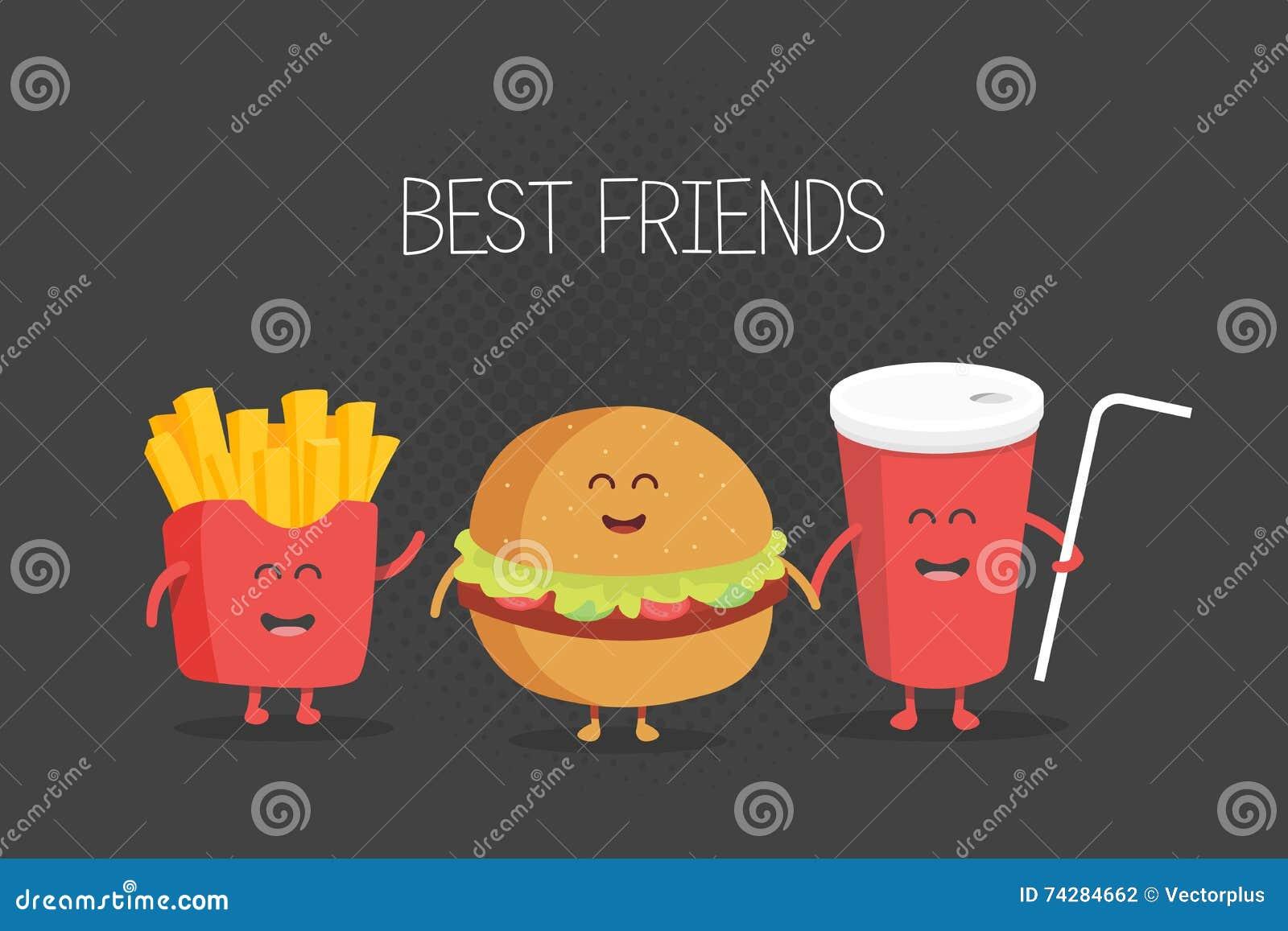 Leuke snel voedselhamburger, soda, frieten
