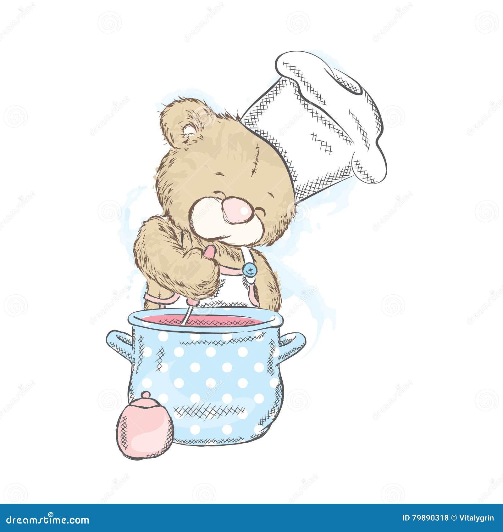 Leuke teddybeer met een steelpan Draag voorbereidt diner kok Vector illustratie