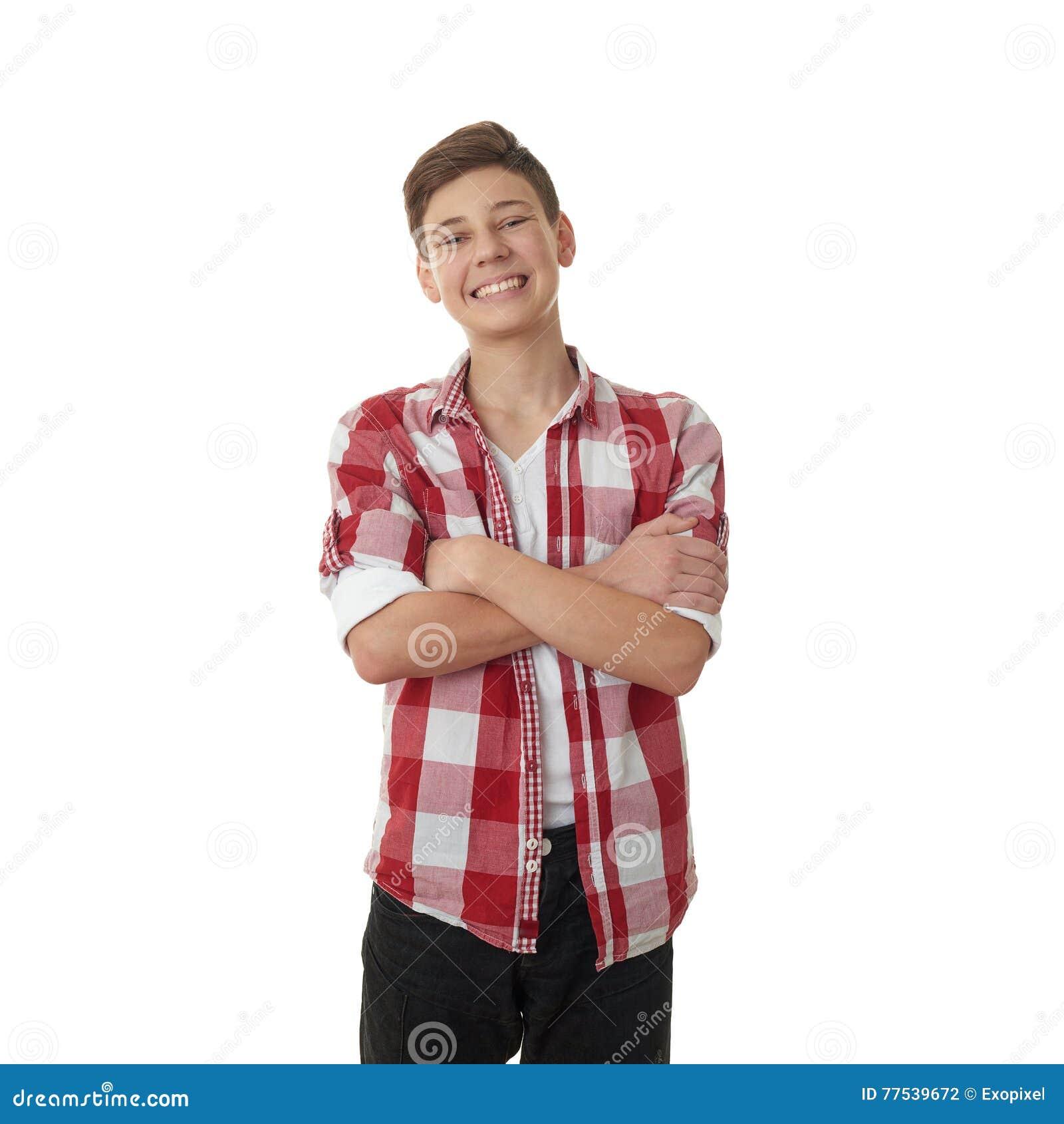 Leuke tienerjongen over wit geïsoleerde achtergrond