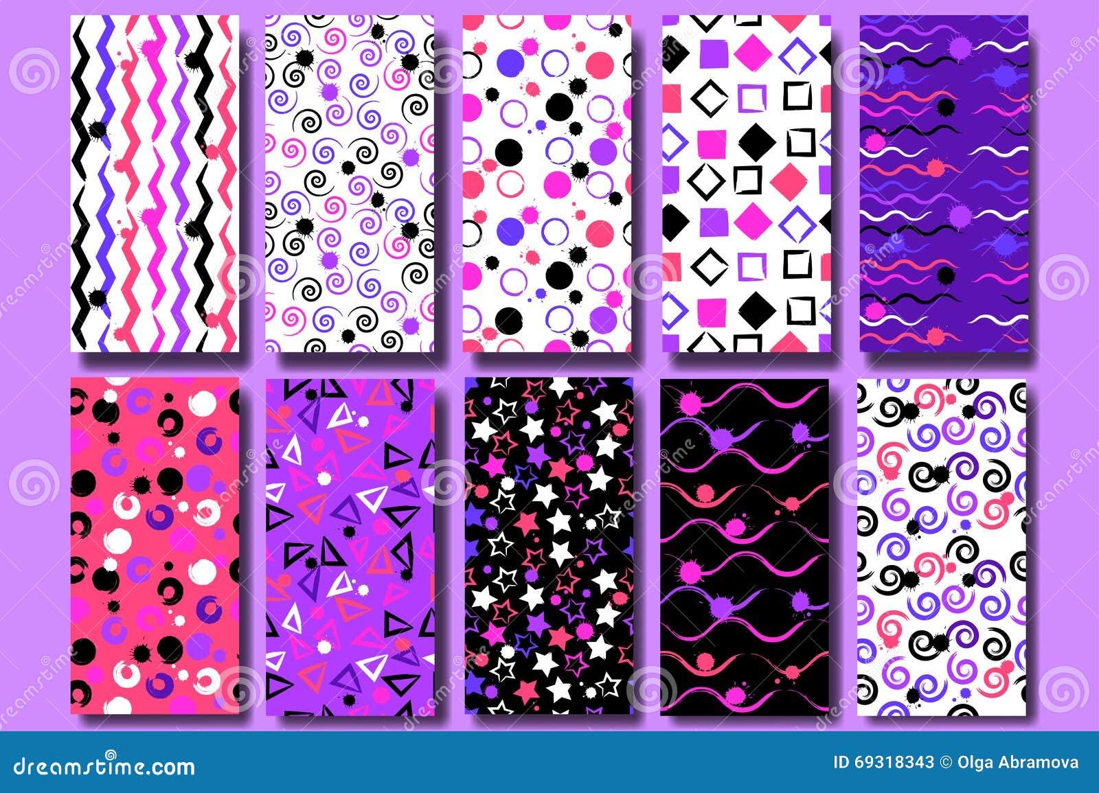 10 leuke verschillende naadloze patronen Golvende lijnen, vierkanten, werveling, cirkels, borstelslagen, driehoeken en sterren Ei