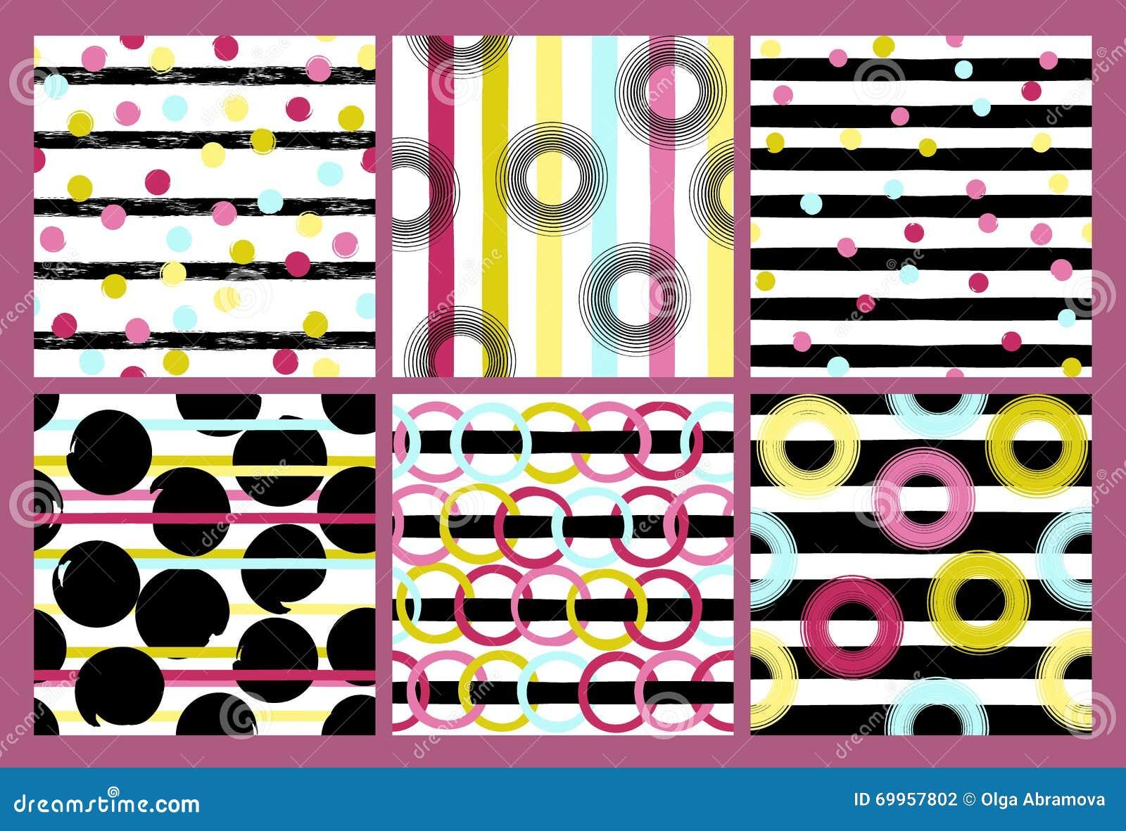 6 leuke verschillende vector naadloze patronen Golvende lijnen, werveling, cirkels, borstelslagen Stippen en strepen eindeloos