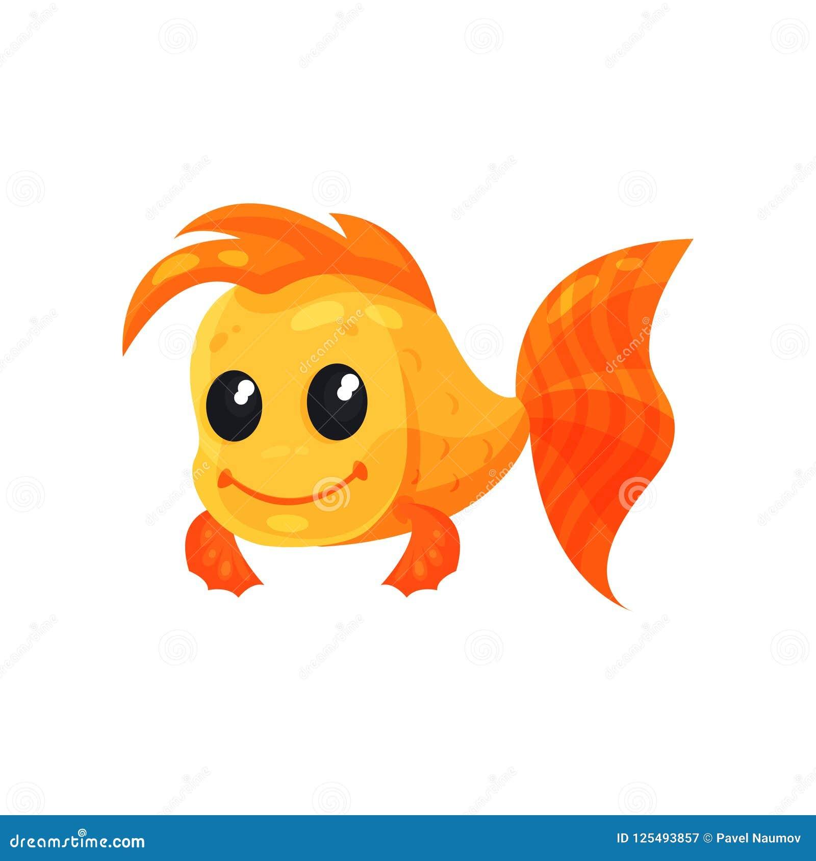 Leuke vrolijke goudvis, grappige het karakter vectorillustratie van het vissenbeeldverhaal op een witte achtergrond