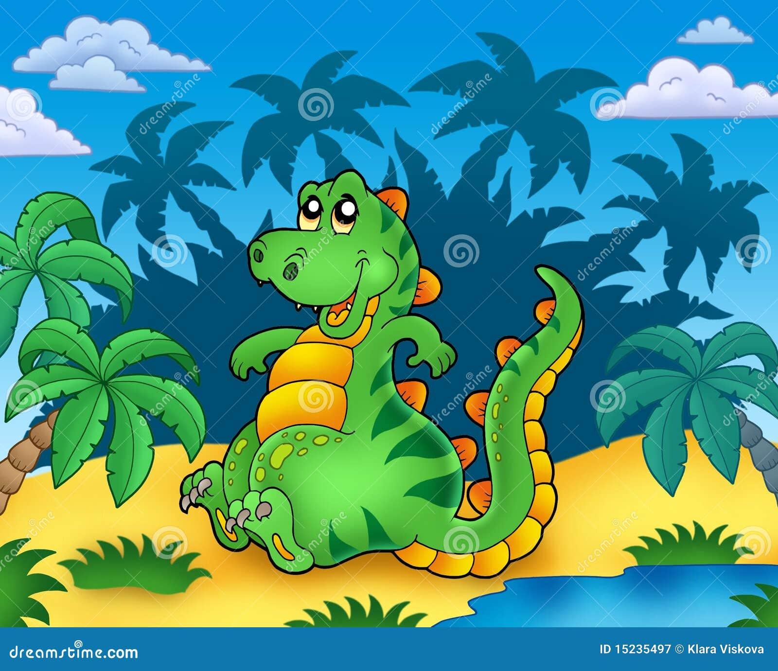 Leuke zittingsdinosaurus met palmen