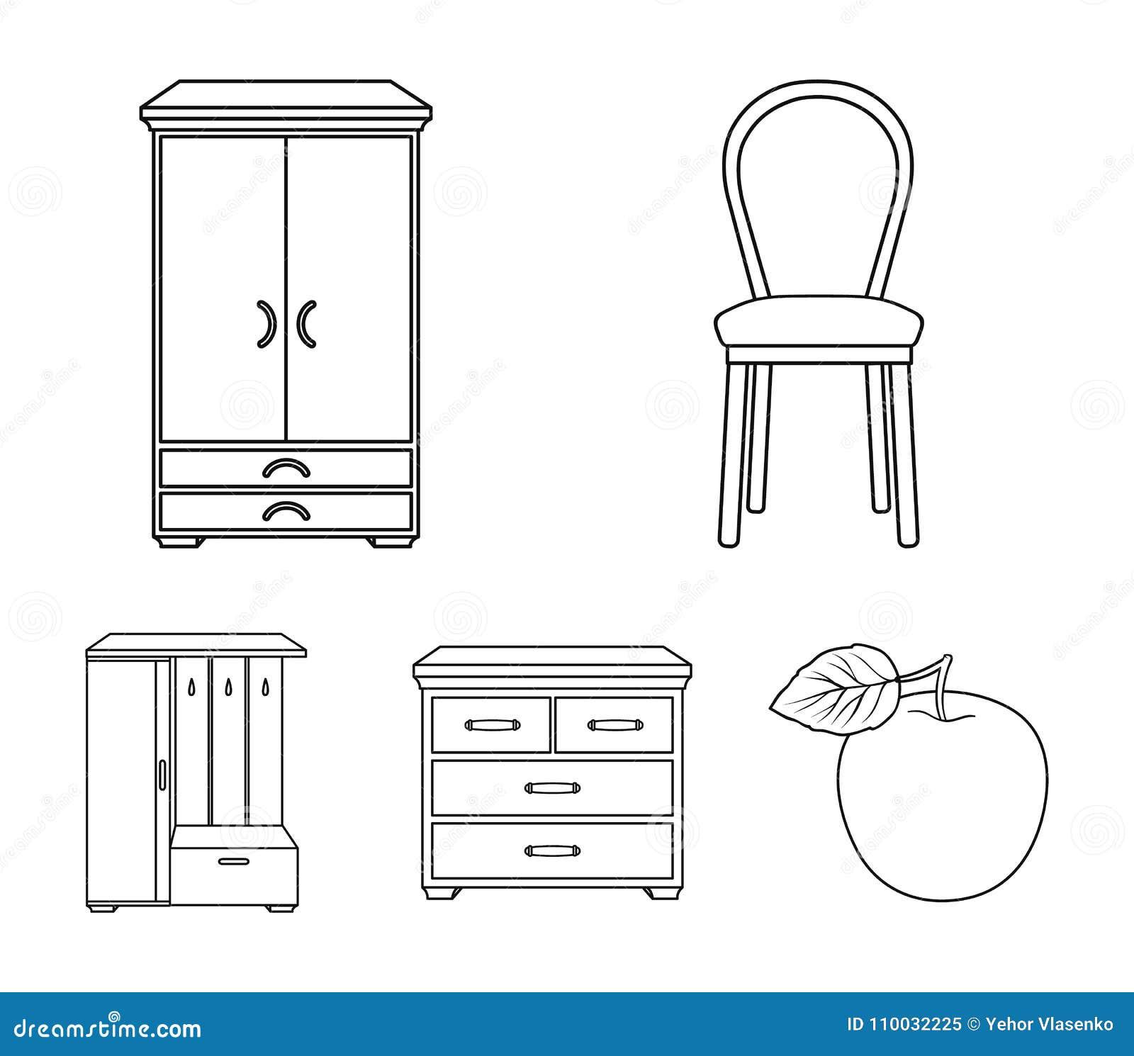 Leunstoel, kabinet, bed, lijst Meubilair en huis interiorset inzamelingspictogrammen in vector het symboolvoorraad van de overzic