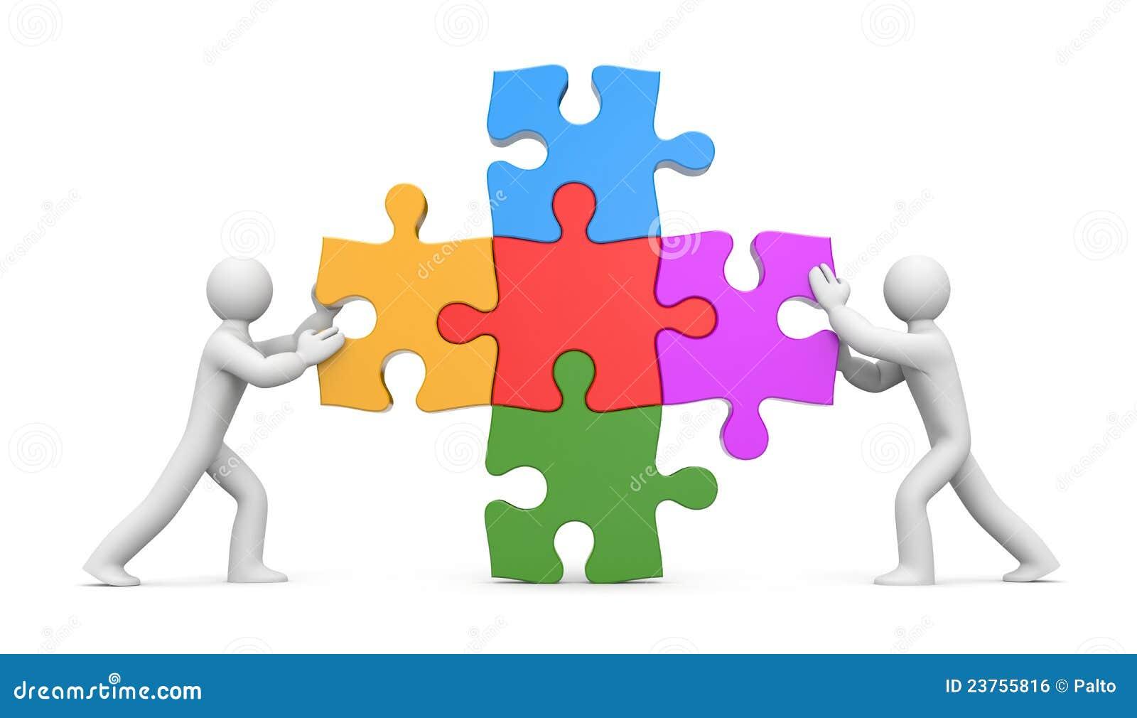 Leute 3d mit Puzzlespielen. Teilhaberschaft