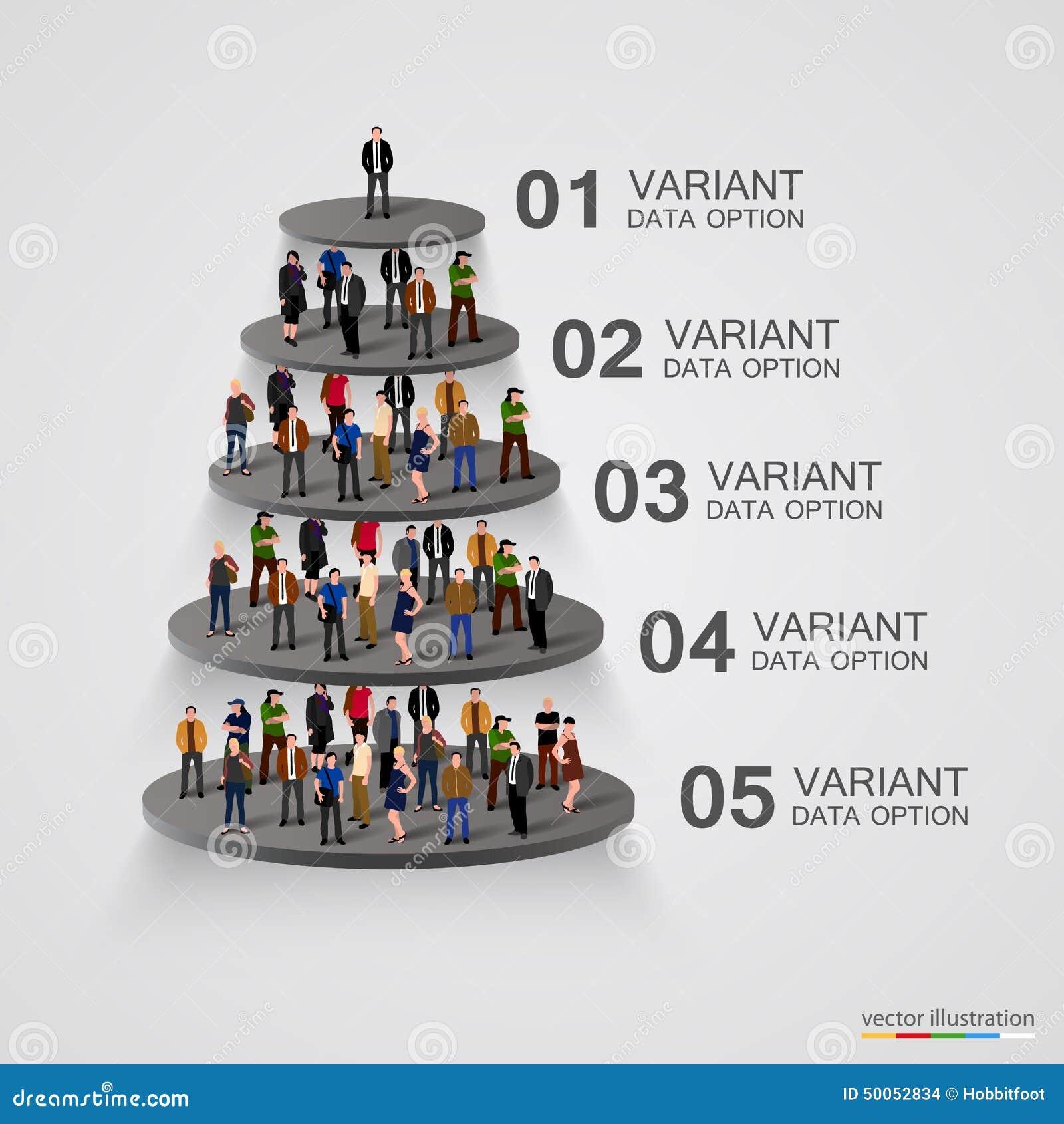 Leute auf einem Sockel in der Hierarchie
