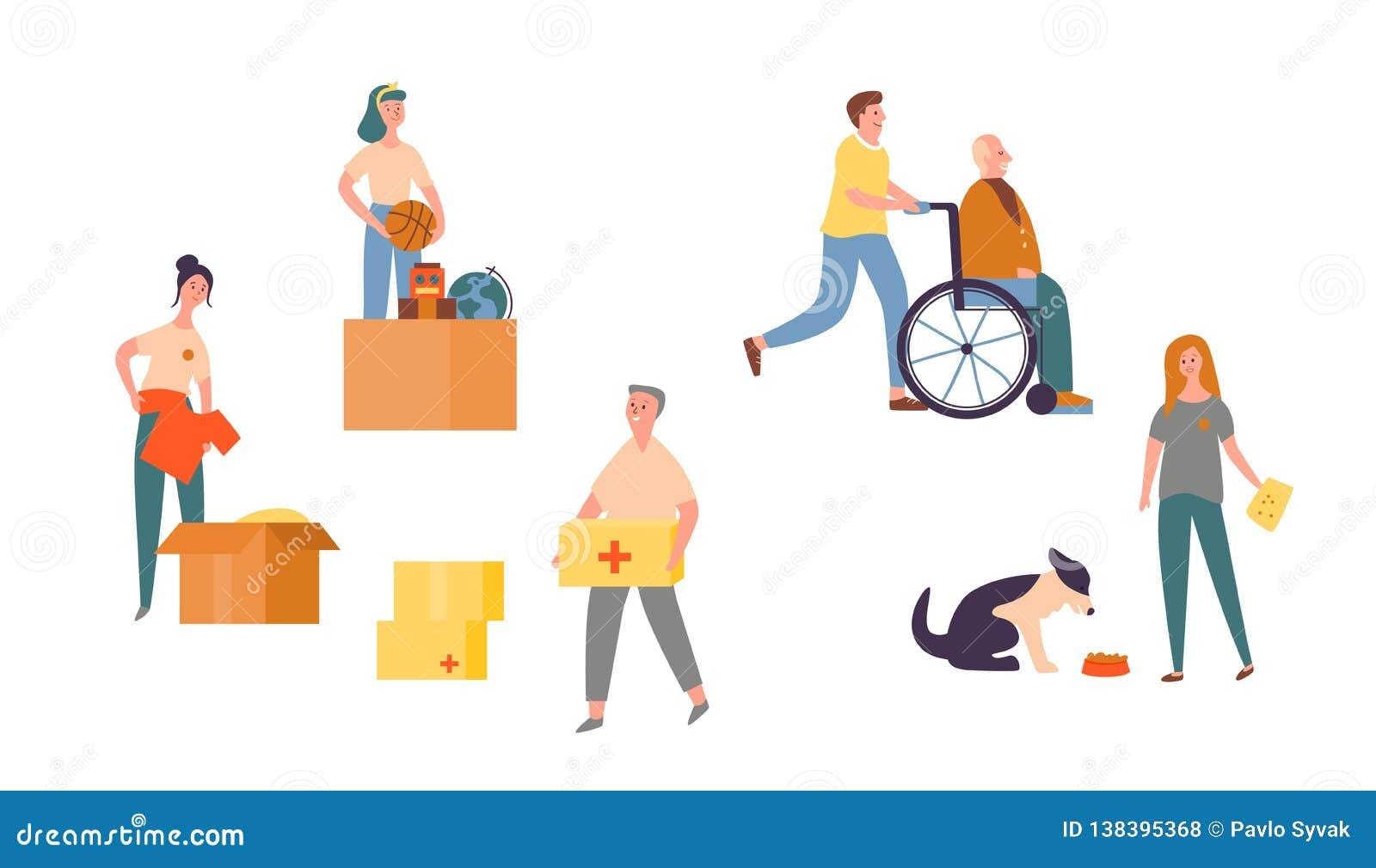 Leute-Charakter-freiwillige Sorgfalt für älteren Satz Bedürftige Gemeinschaftshilfsmitte Nächstenliebe zum Tier, zum des obdachlo