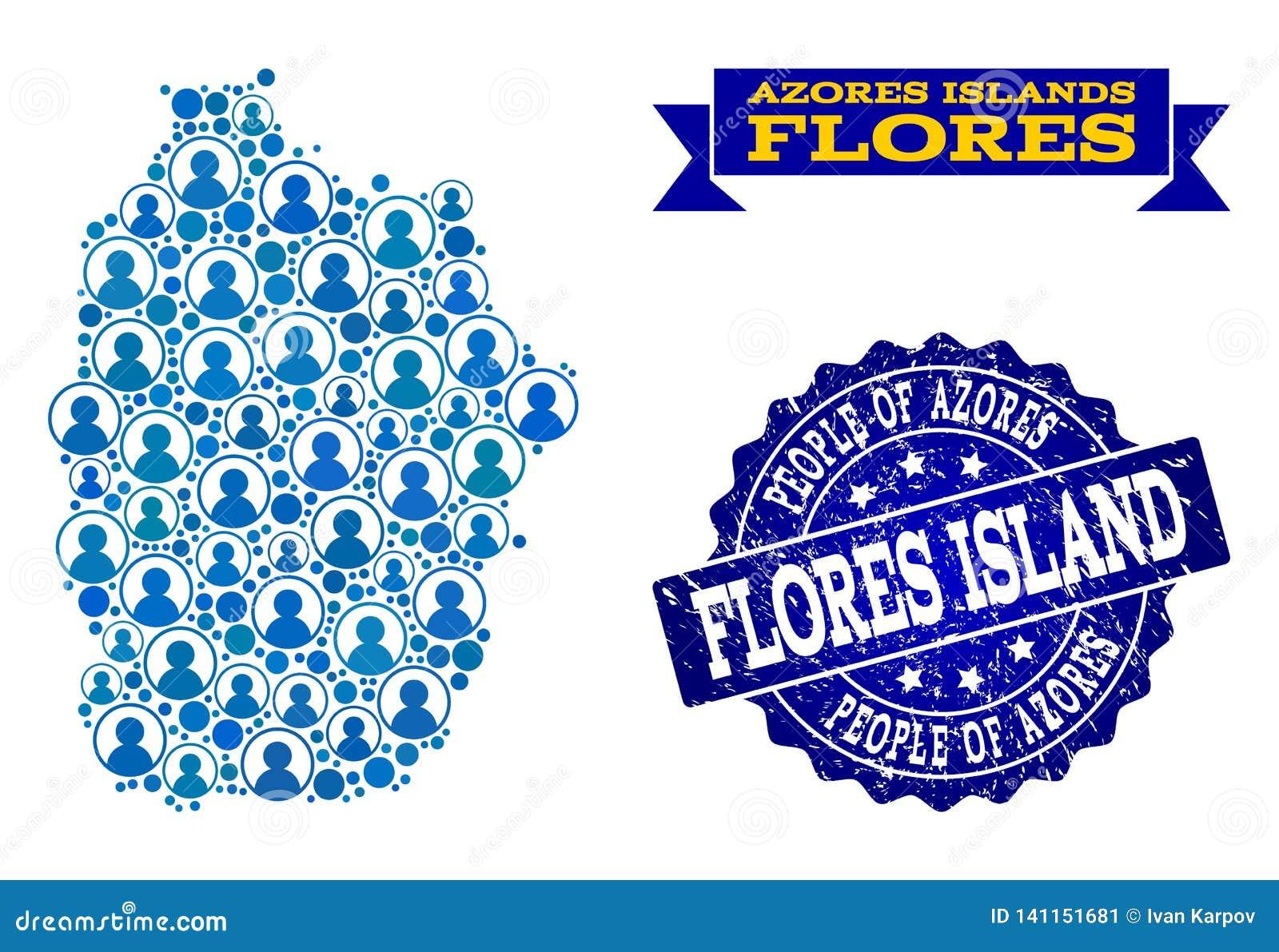 Azoren Karte.Leute Collage Der Mosaik Karte Von Azoren Von Flores Insel Und Von