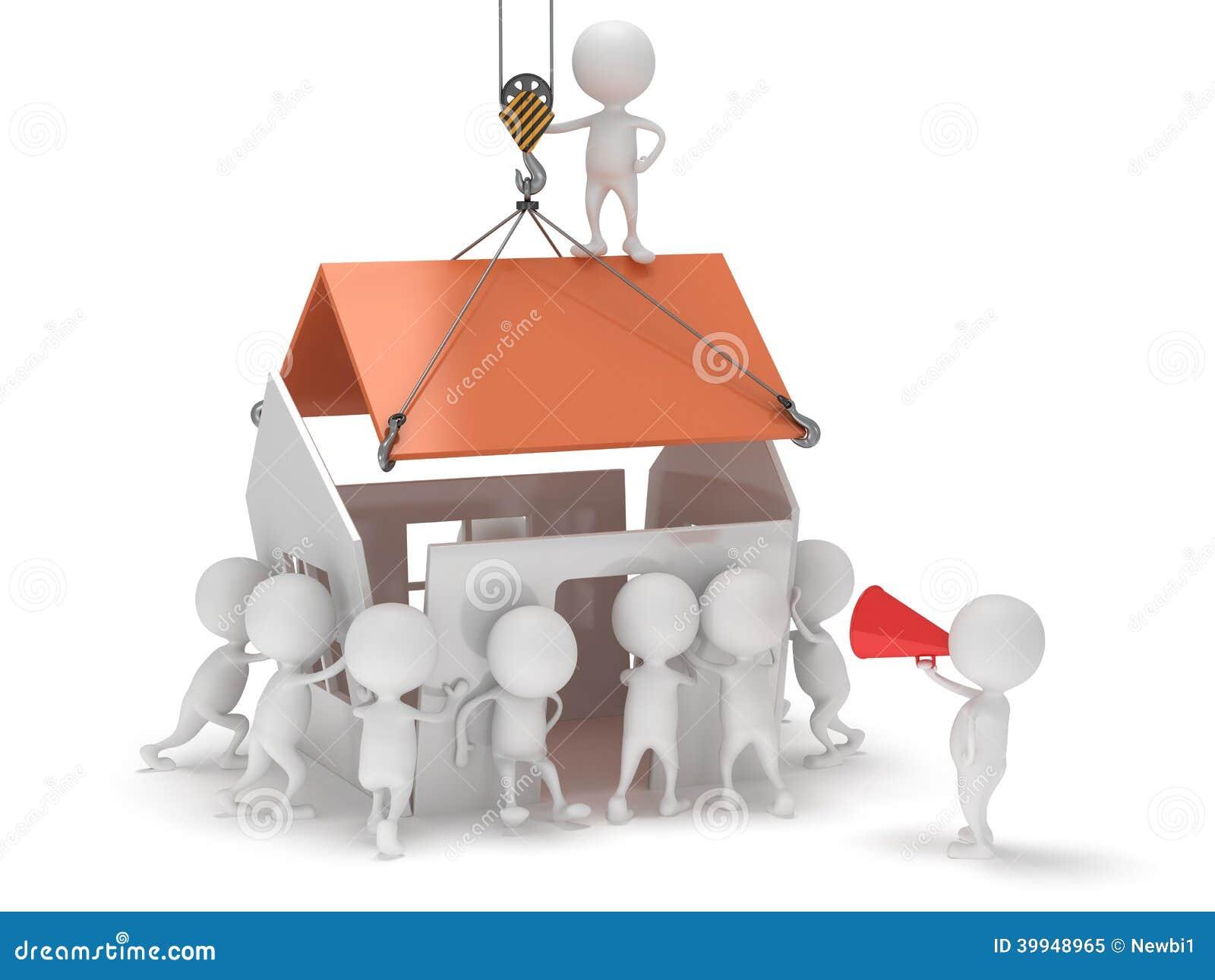 Leute 3D bauen ein Haus stock abbildung. Illustration von führer ...