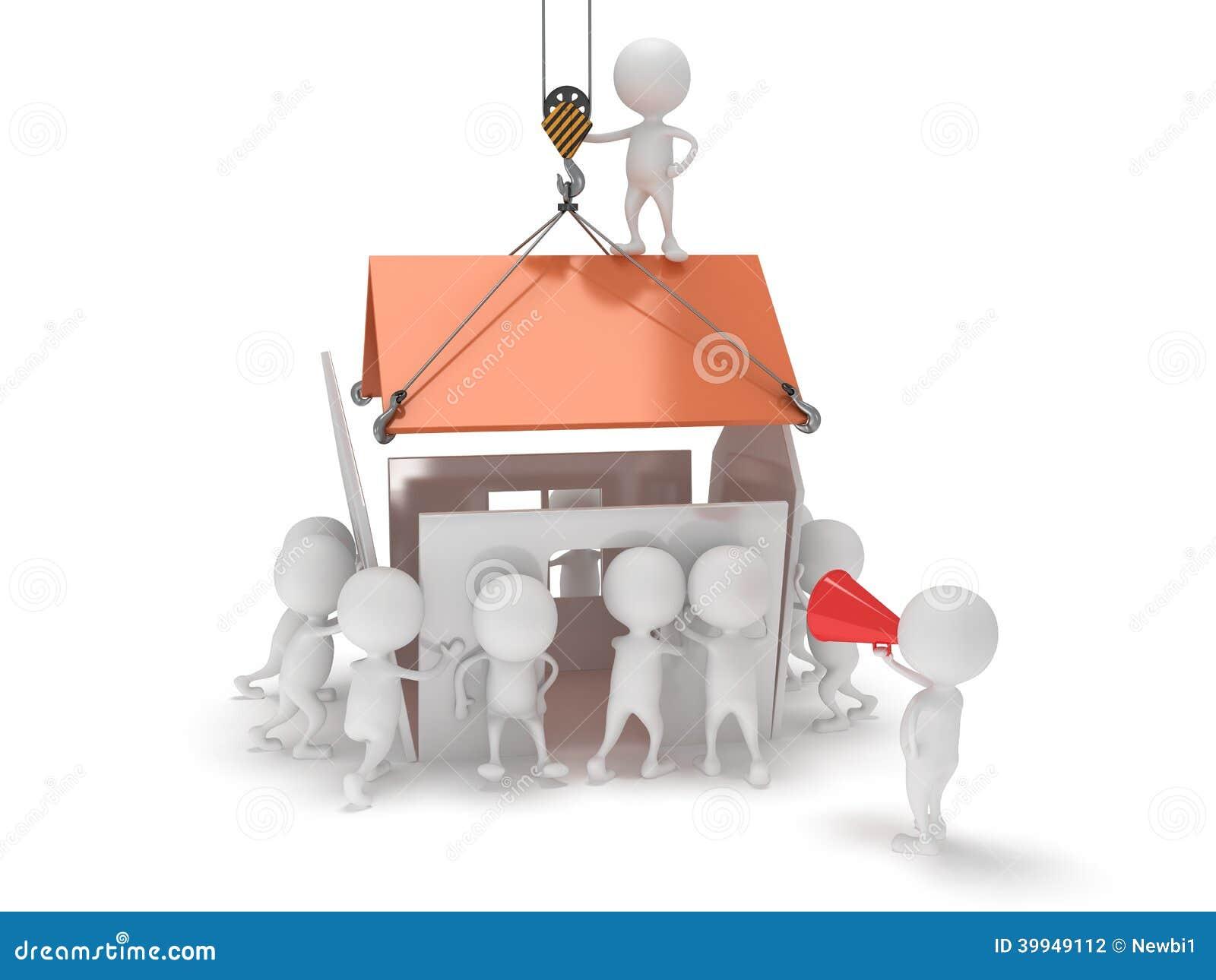 Haus bauen clipart  Leute 3D Bauen Ein Haus Stock Abbildung - Bild: 40167532
