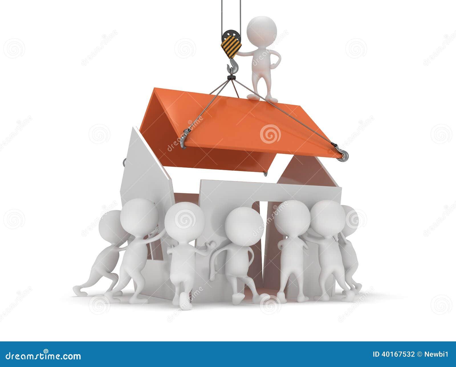 Leute 3d bauen ein haus stock abbildung bild von haken for Time to build a house