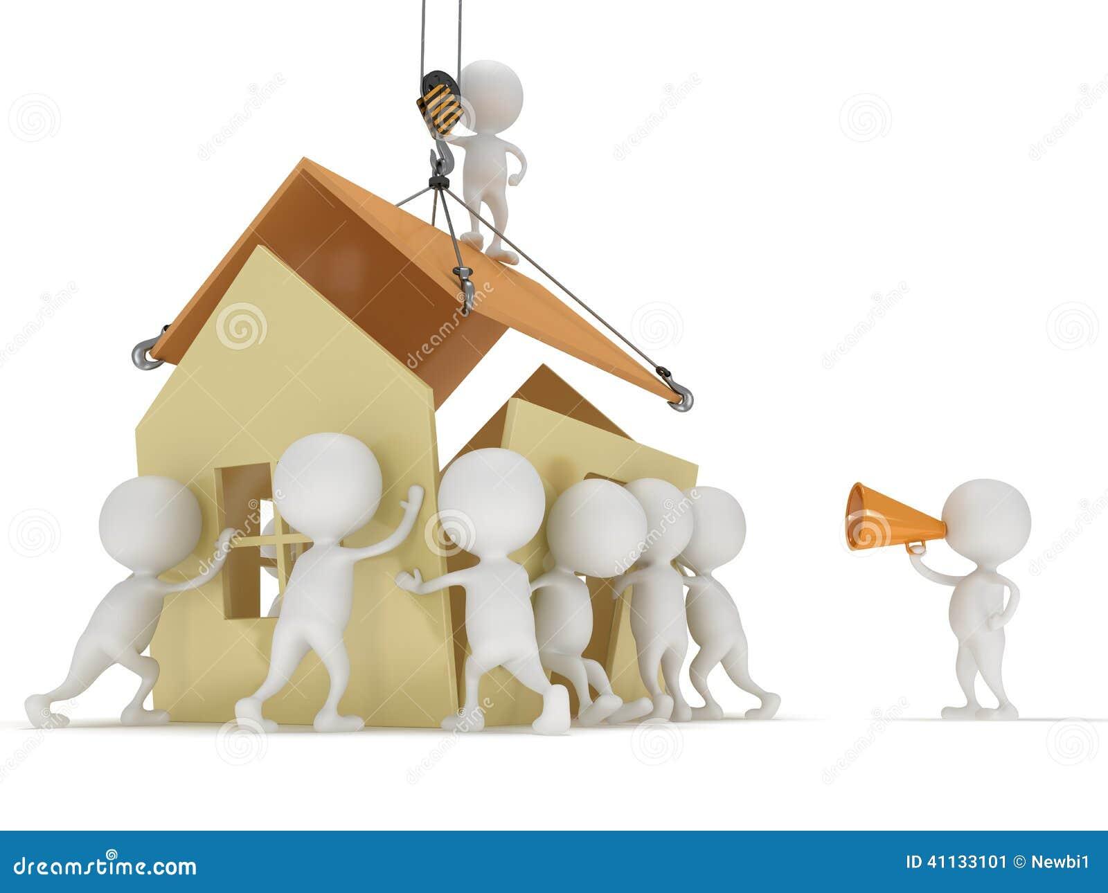 Haus bauen clipart  Leute 3D Bauen Ein Haus Stock Abbildung - Bild: 41133101