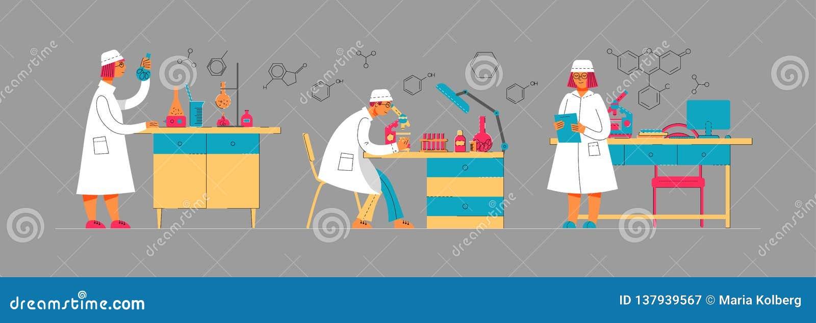 Leute in der Uniform arbeiten in einem Labor Chemisches und biologisches Labor