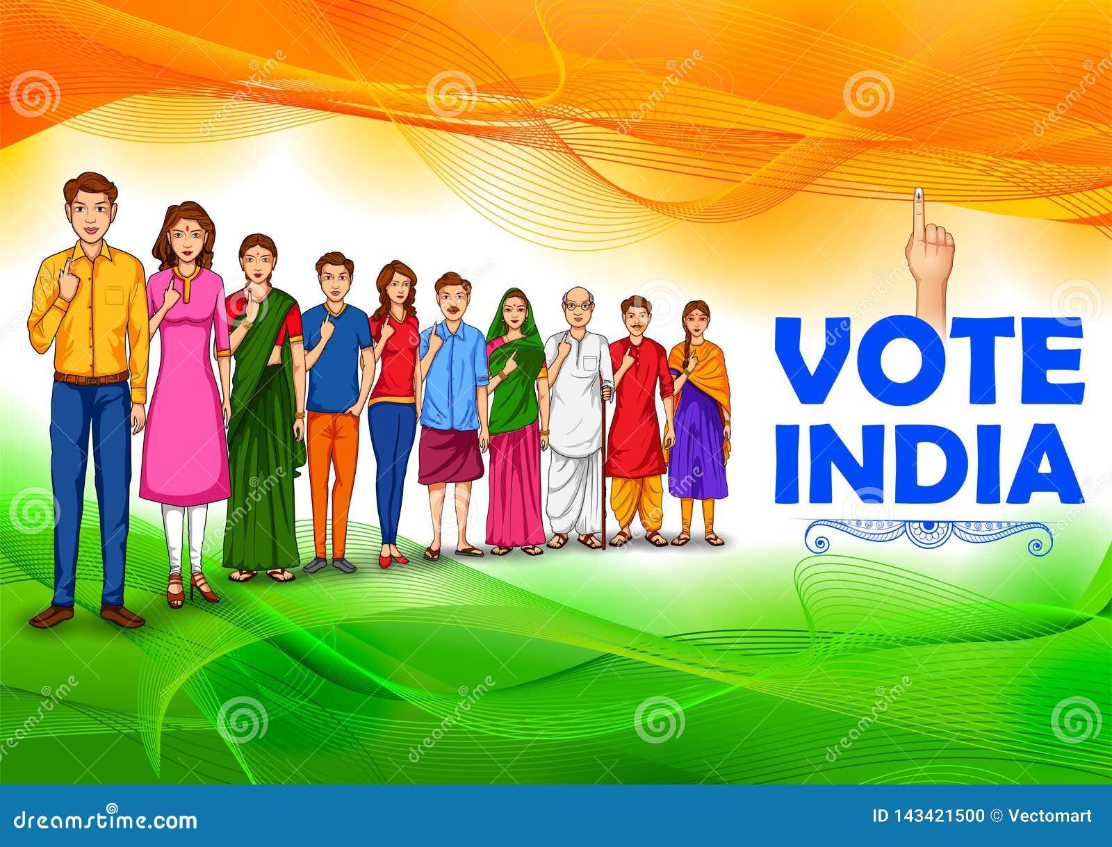 Leute der unterschiedlichen Religion Abstimmungsfinger für Parlamentswahl von Indien zeigend