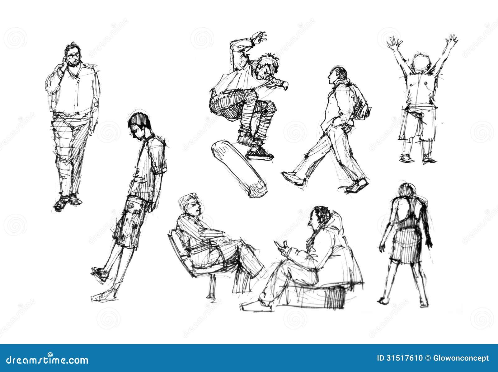 Line Drawing Person : Leute die in aktionsverschiedenartigkeit zeichnen stock