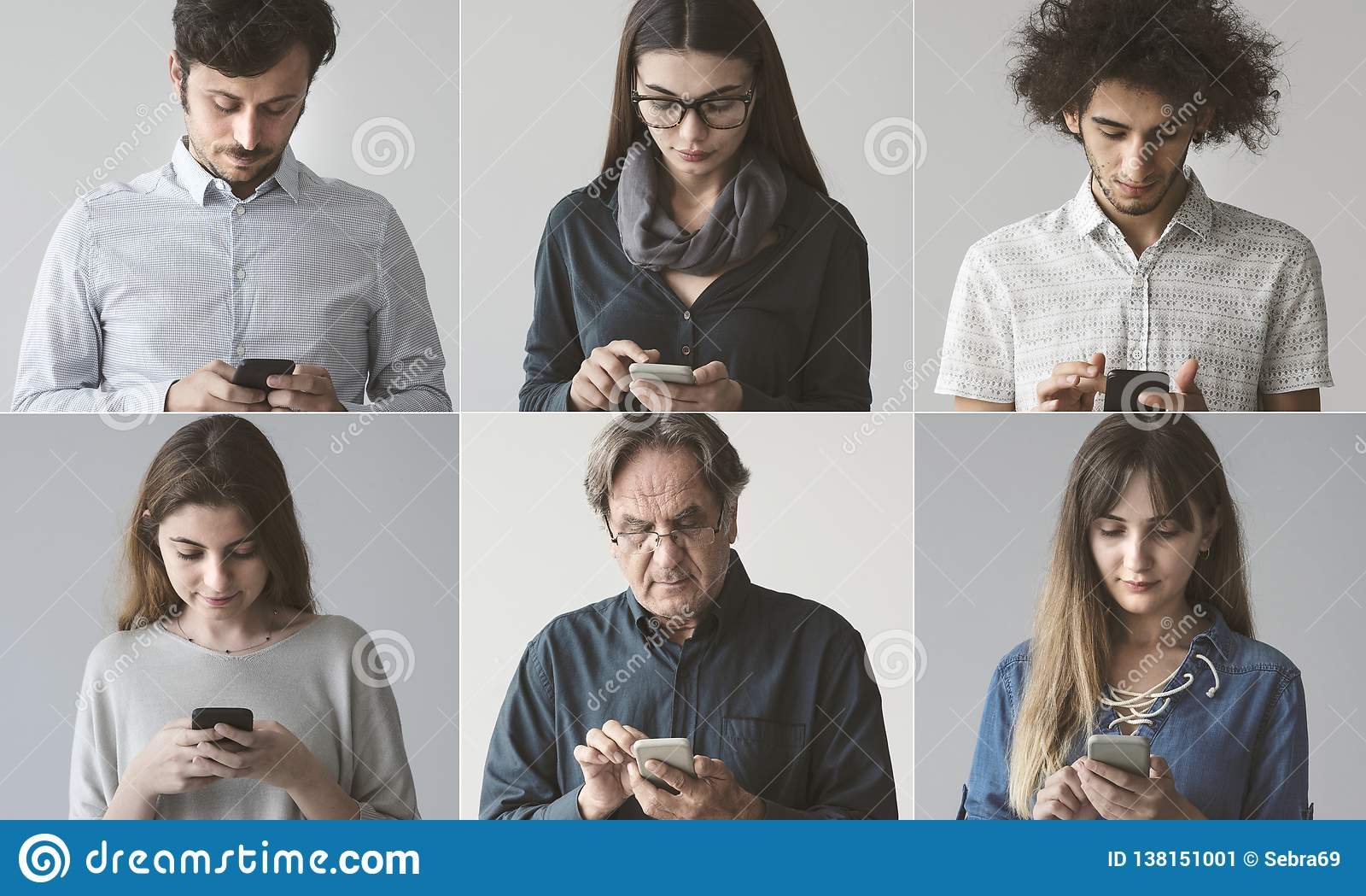 Leute, die den Handy verwenden