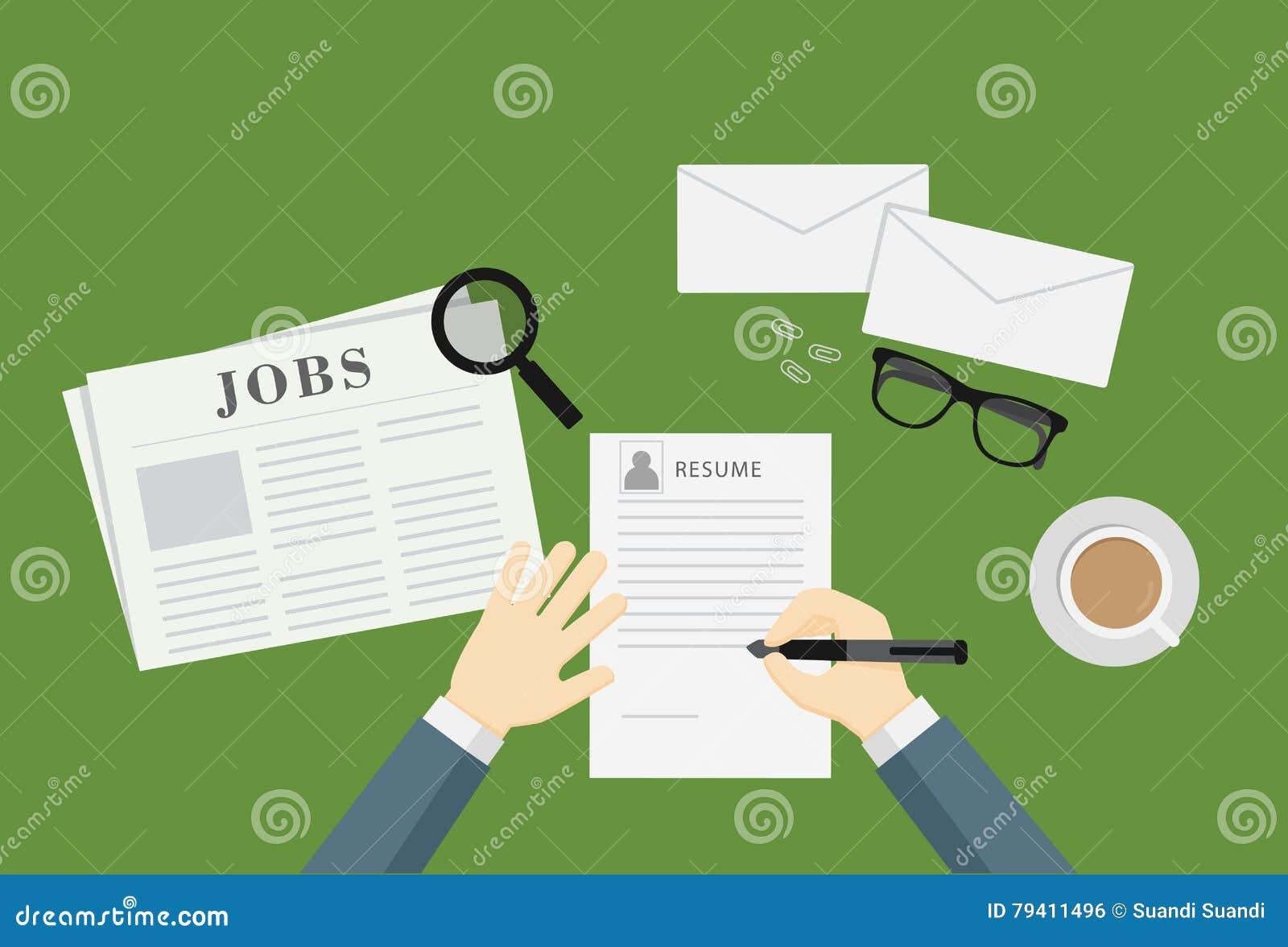 Leute Die Eine Zusammenfassung Schreiben Um Job Vacancy Anzuwenden