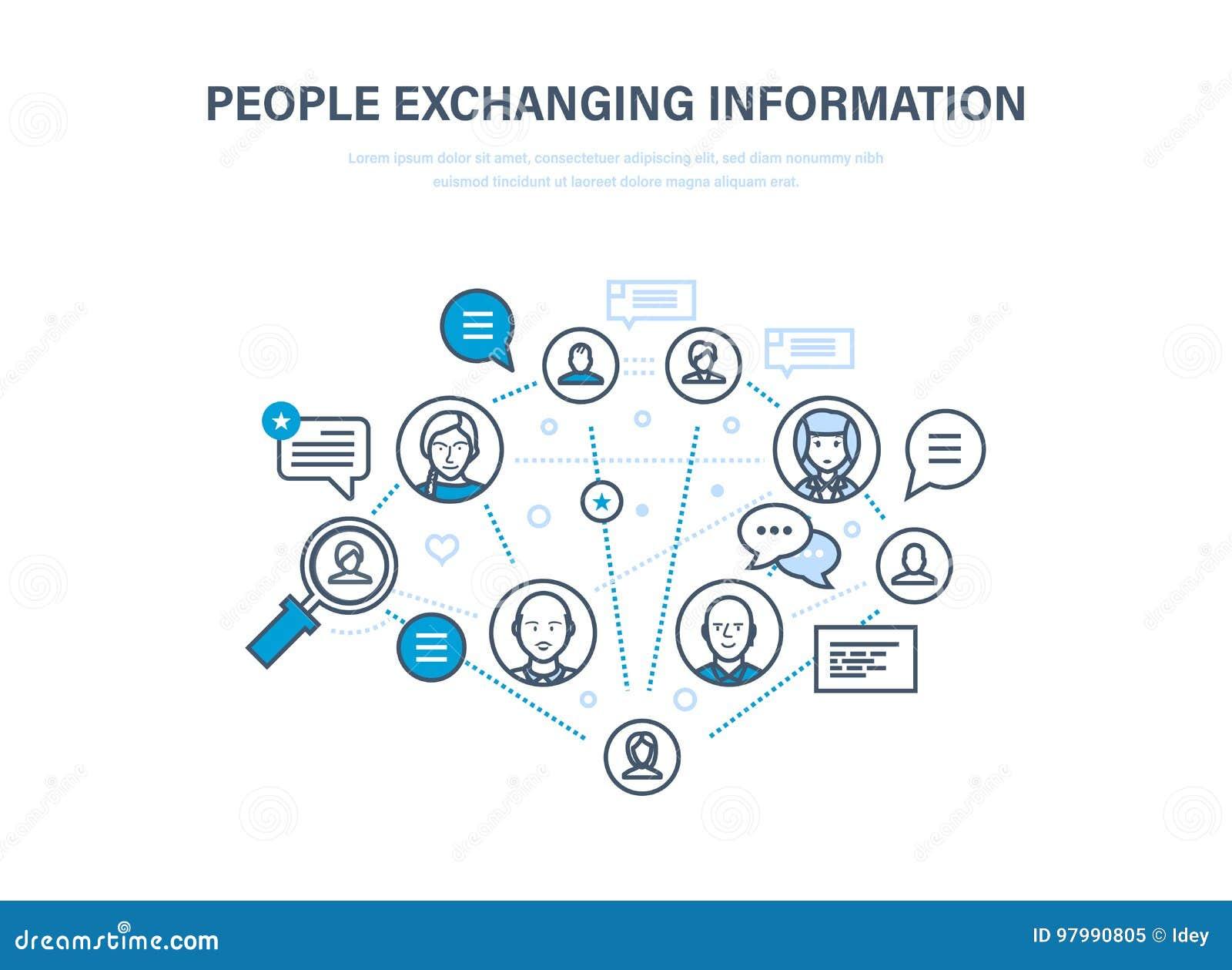 Leute, die Informationen austauschen Kommunikationen, Feedback Internet, Soziales Netz