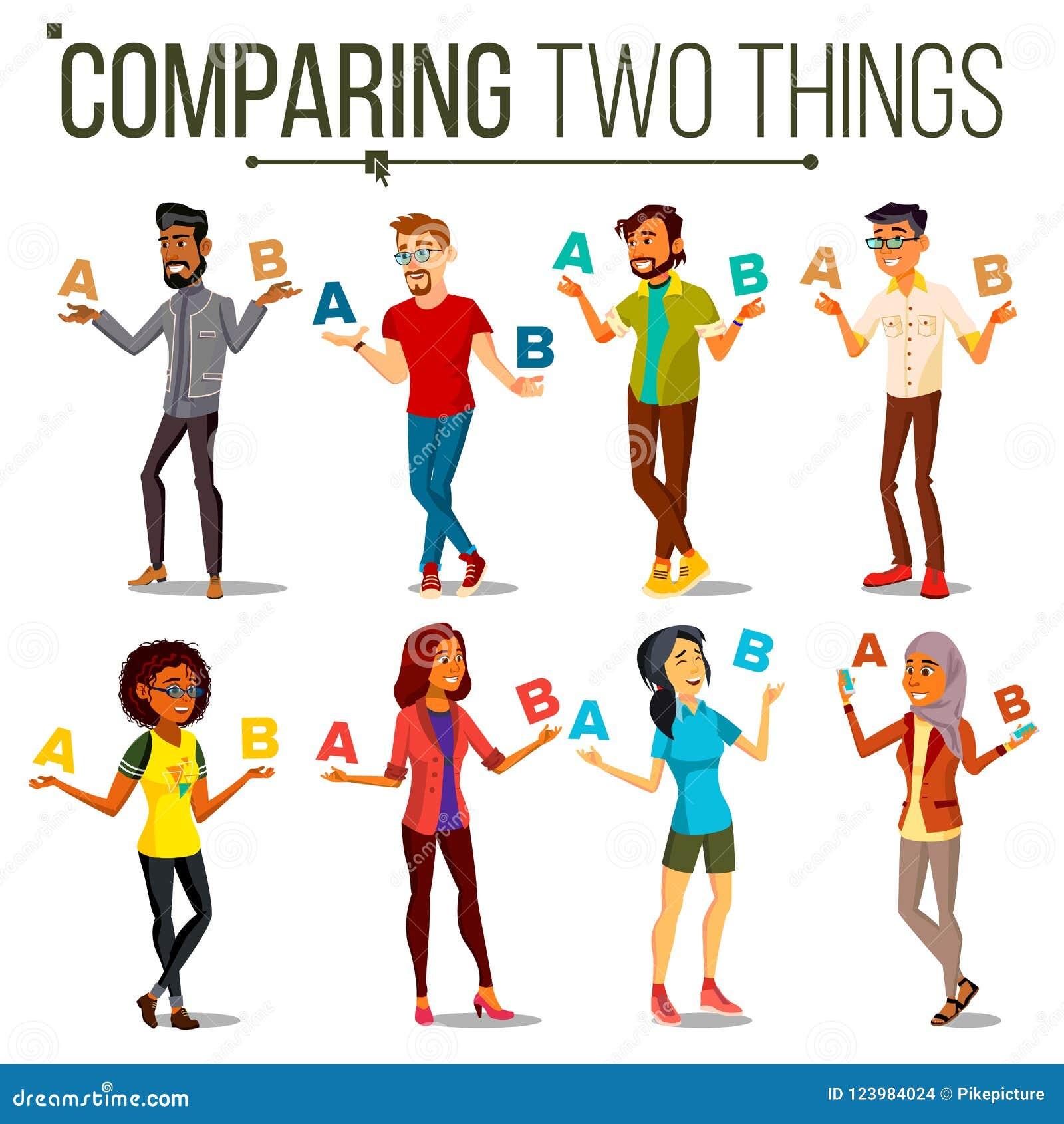 Leute, die A mit b-Vektor vergleichen Balance des Verstandes und der Gefühle Mischungs-Rennen Kunden-Wahl Vergleichen Sie Gegenst