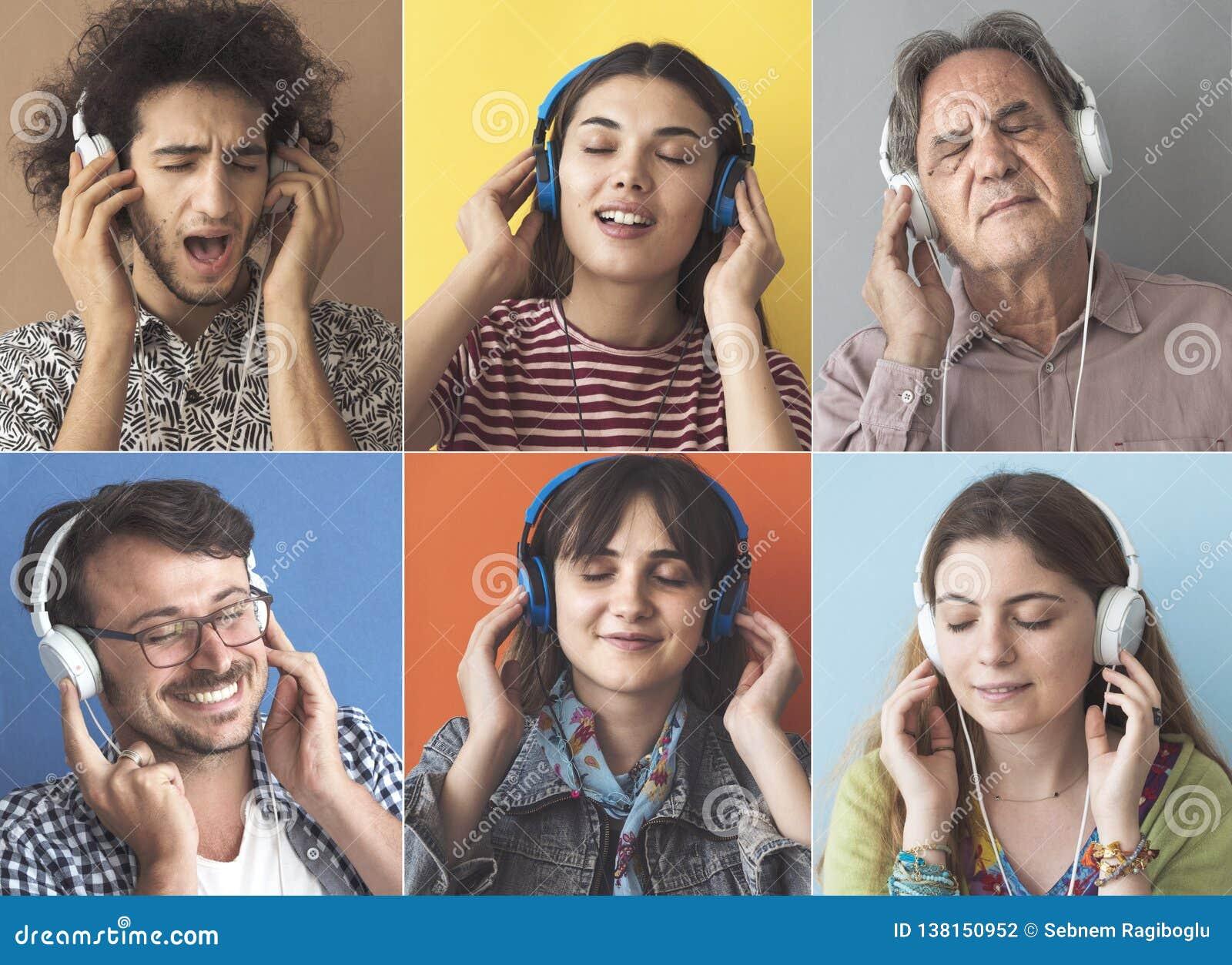Leute, die Musik mit Kopfh?rer h?ren