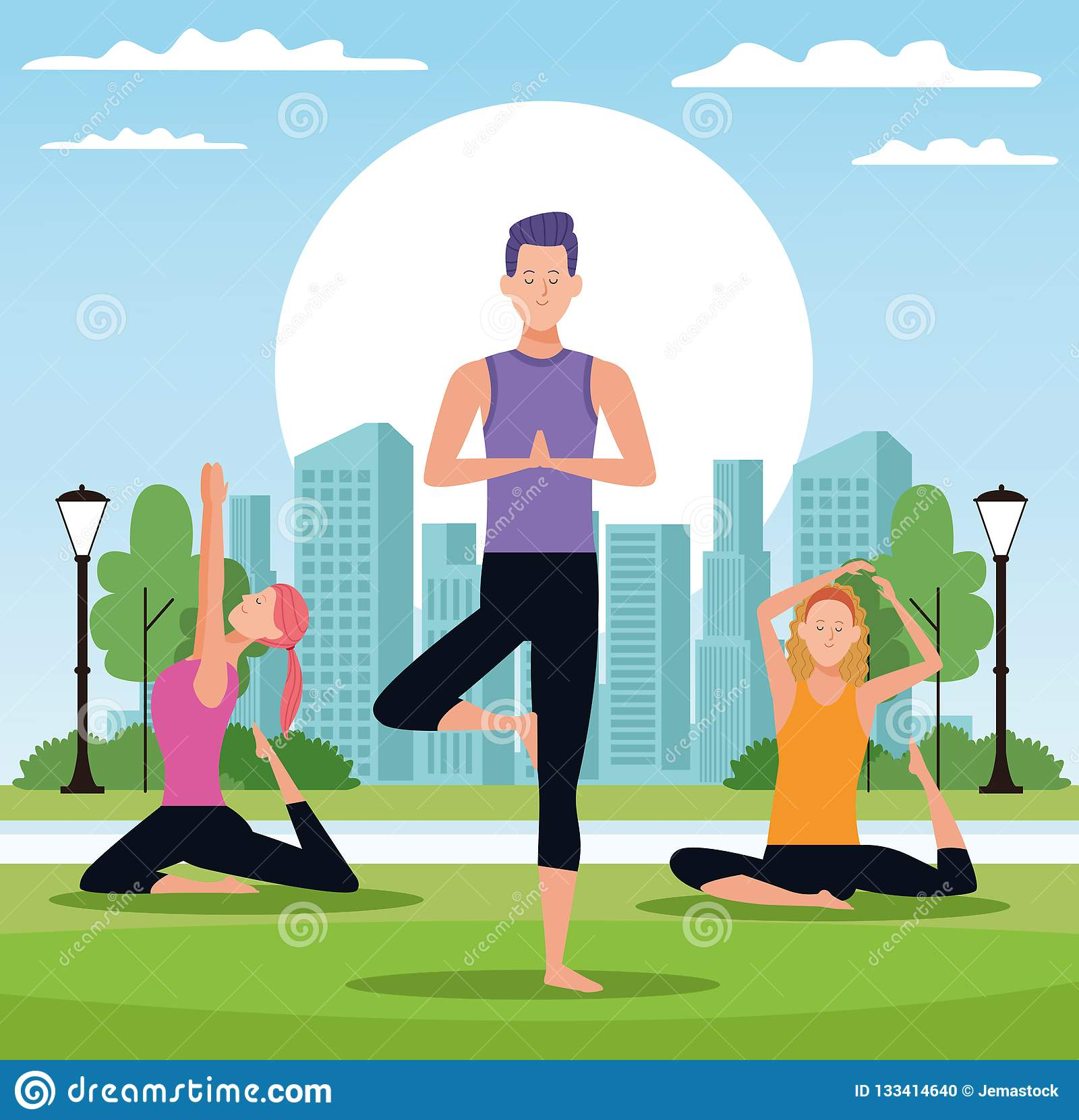 Leute, die Yoga tun