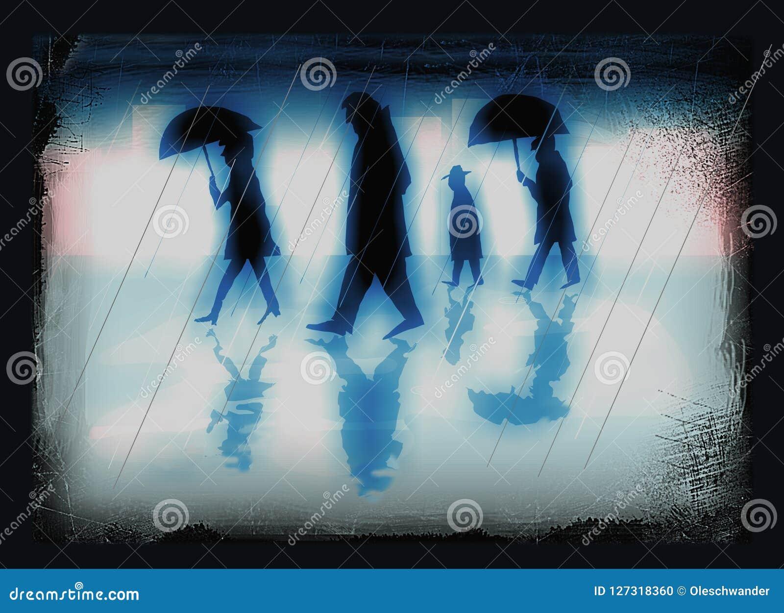 Leute in einer Stadt an einem regnerischen Tag - Illustration in überwundenen blauen Farben