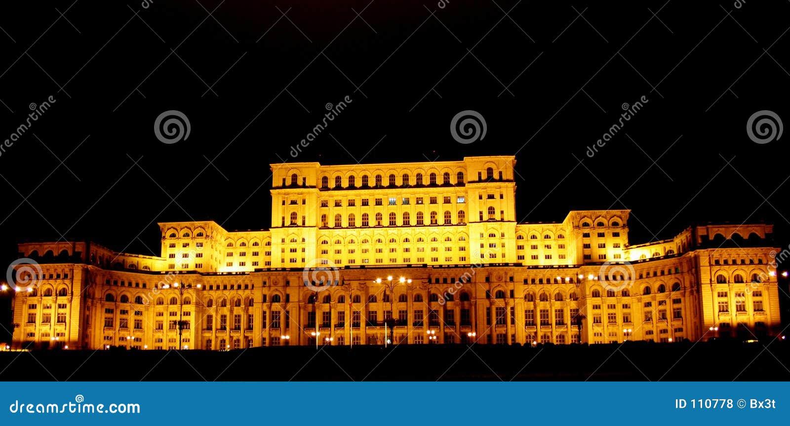 Leute-Haus Bucharest-, Rumänien bis zum Nacht