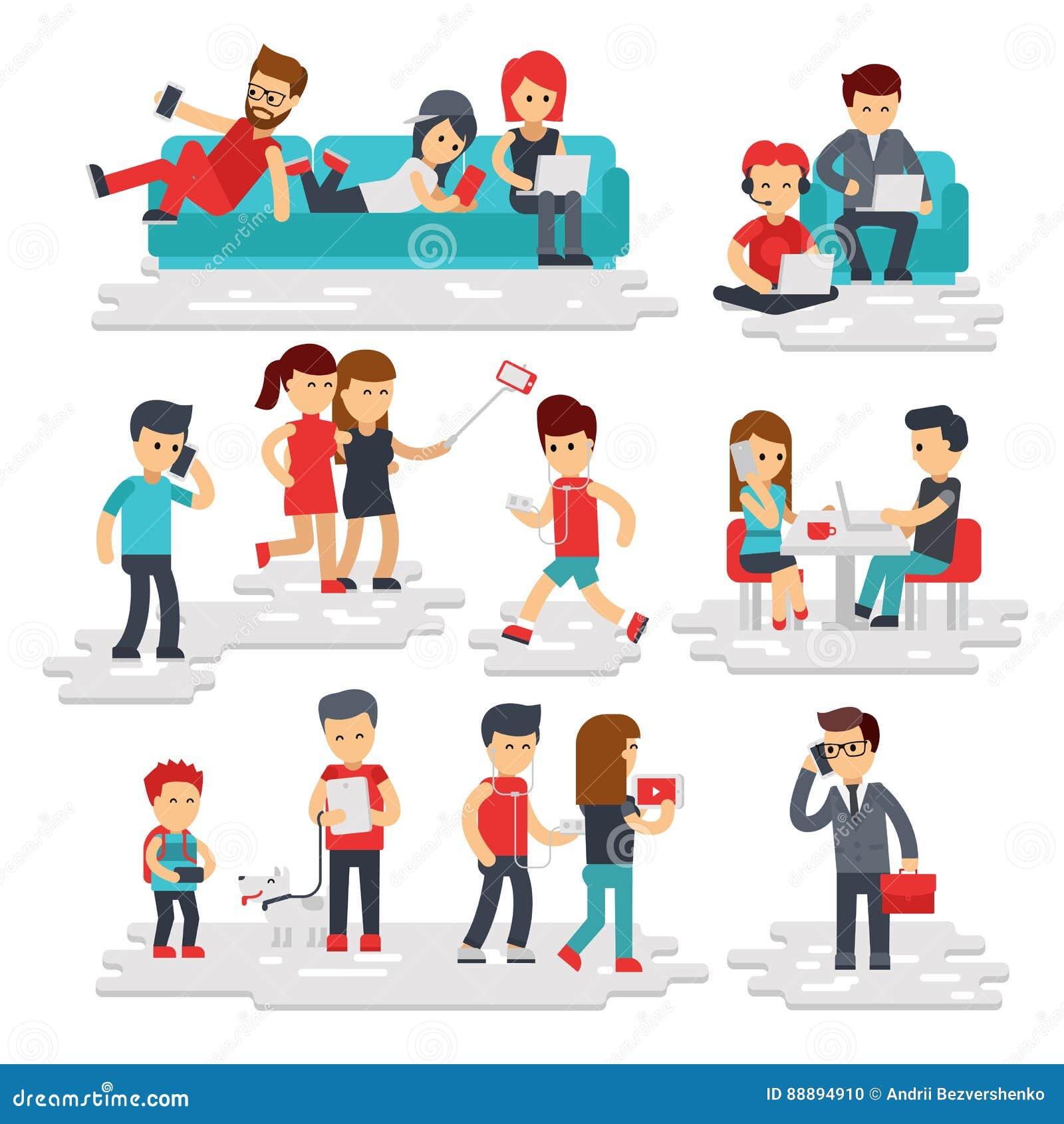 Leute mit den Geräten vector flache Art lokalisiert auf weißem Hintergrund Männer und Frauen benutzen Telefone, Smartphones, Tabl