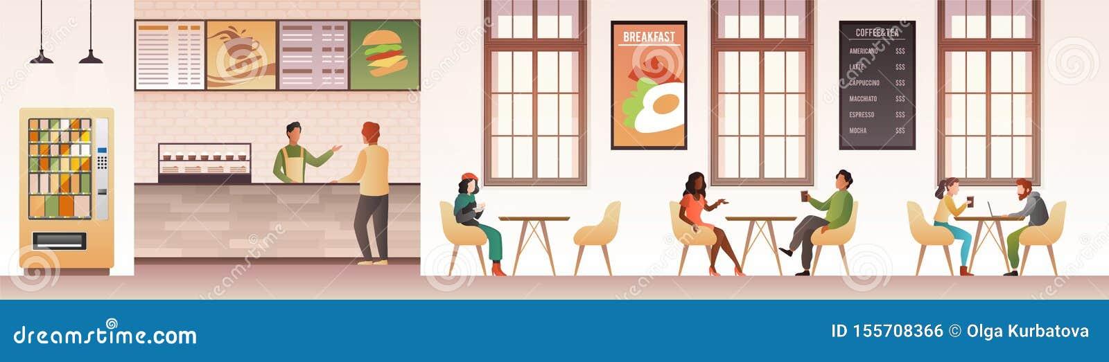 Leute am Restaurant Kerle, die Mahlzeit im Gastronomiebereich, Familie isst Abendessen in der Cafeteria oder im flachen Innenvekt