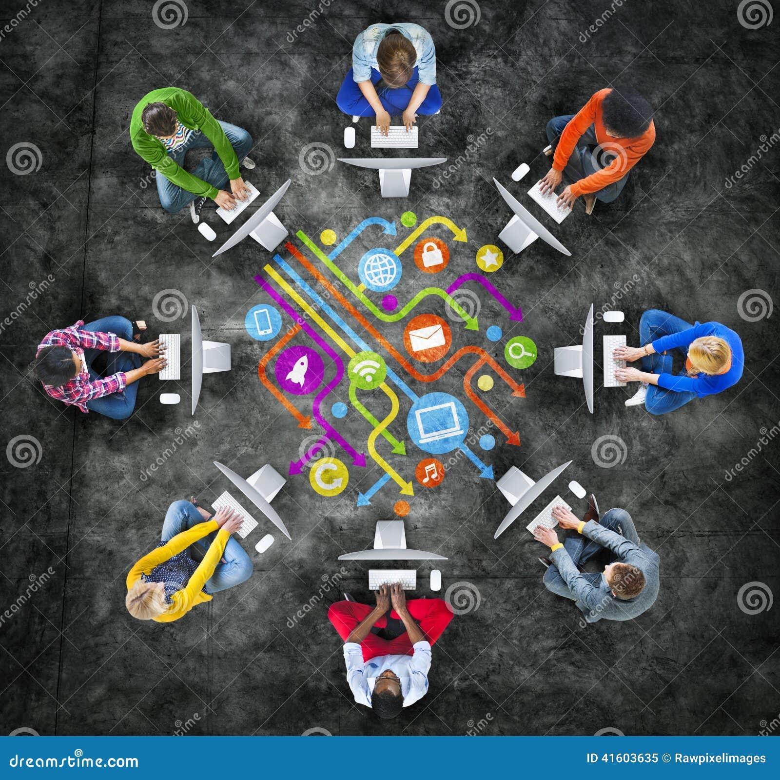 Leute-Social Networking-und Computernetzwerk-Konzepte