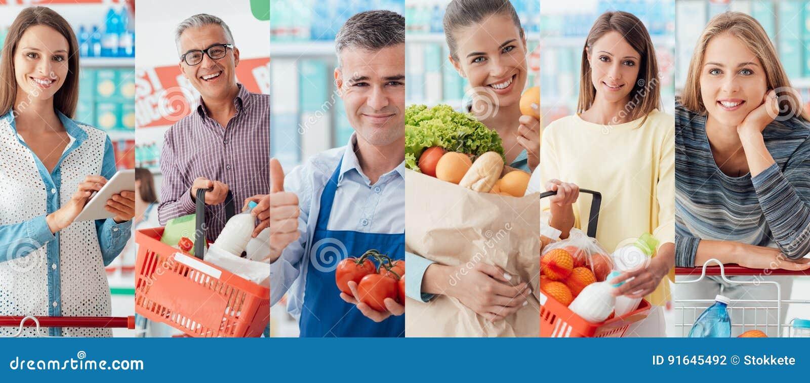 Leute am Supermarkt